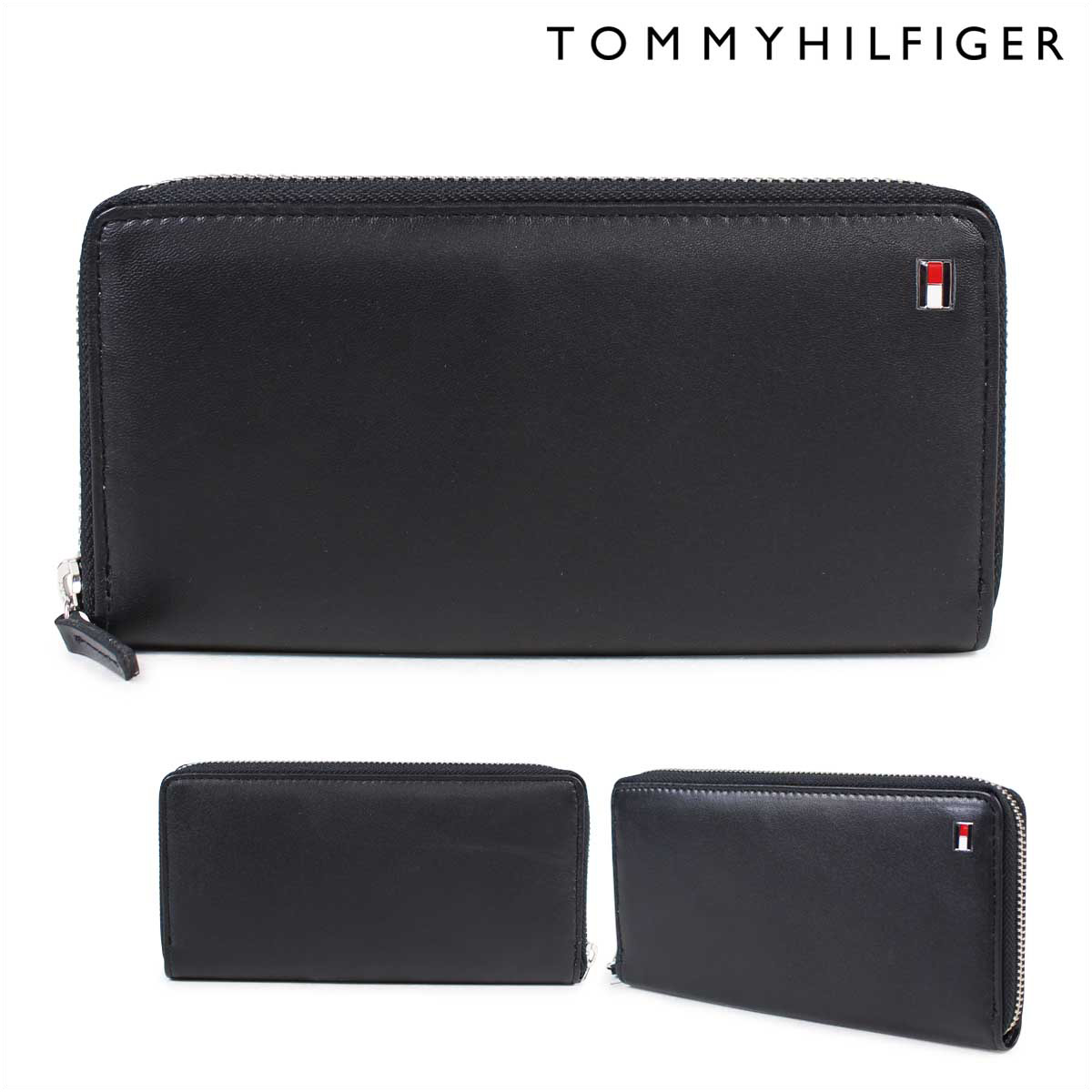 free shipping c29db 98130 TOMMY HILFIGER wallet トミーヒルフィガー long wallet men round fastener leather  OXFORD WALLET 4691 31TL13X009-001 black black