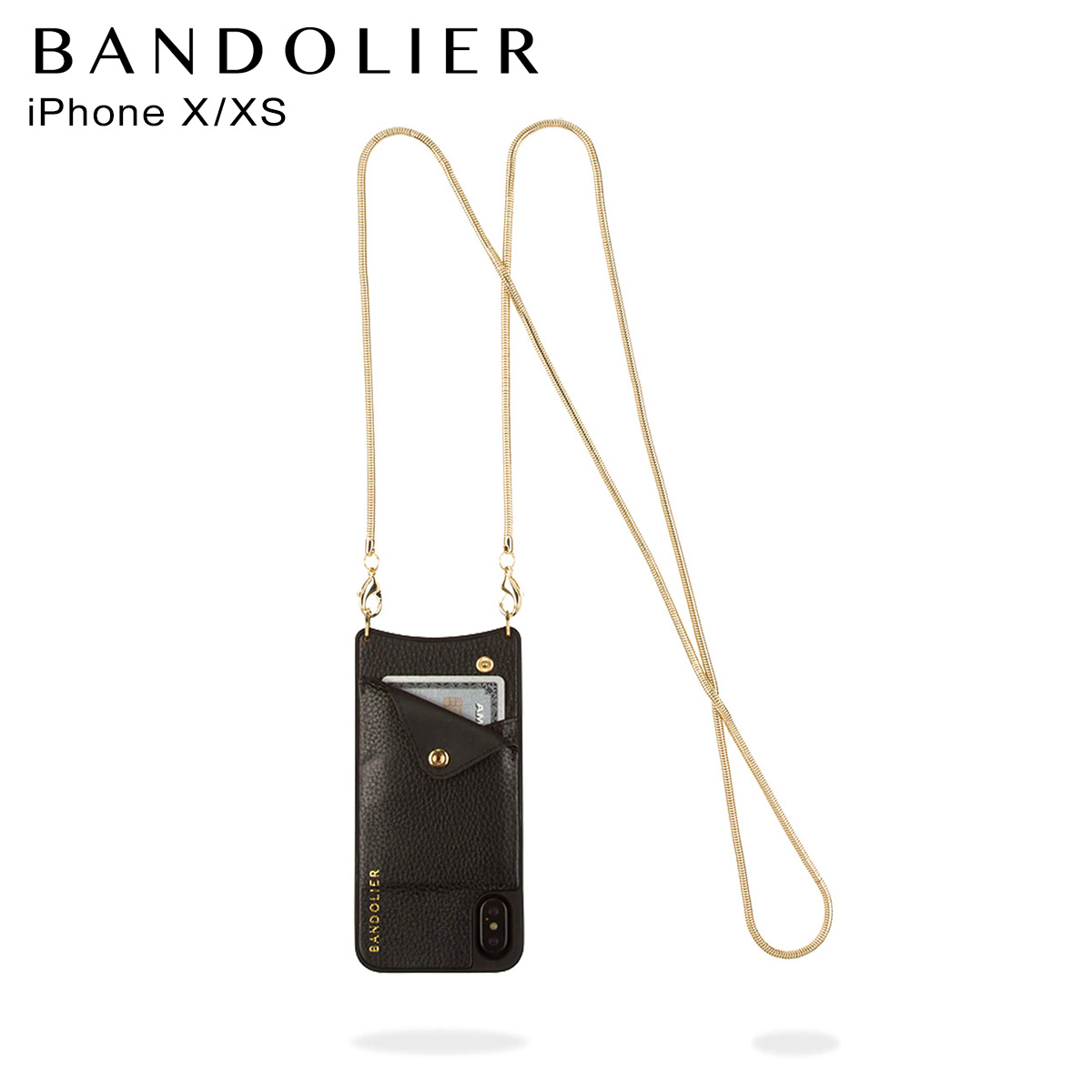 バンドリヤー BANDOLIER iPhone XS X ケース スマホ 携帯 アイフォン ショルダー BELINDA GOLD メンズ レディース ブラック 黒 2002