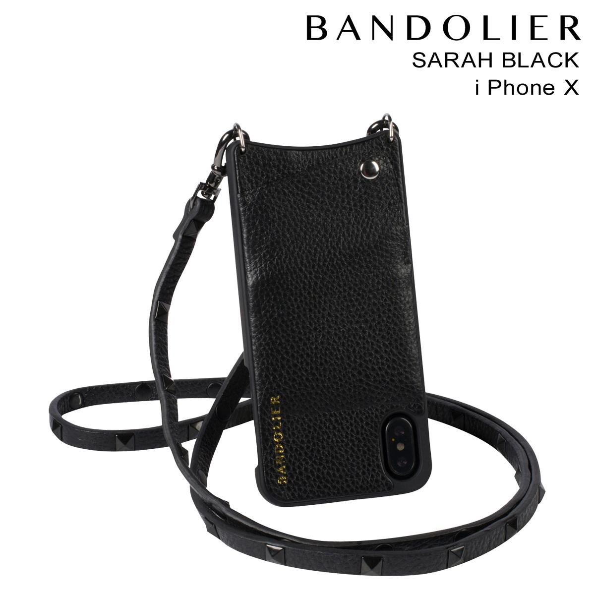 バンドリヤー BANDOLIER iPhoneX ケース スマホ アイフォン SARAH BLACK レザー メンズ レディース [3/19 再入荷]