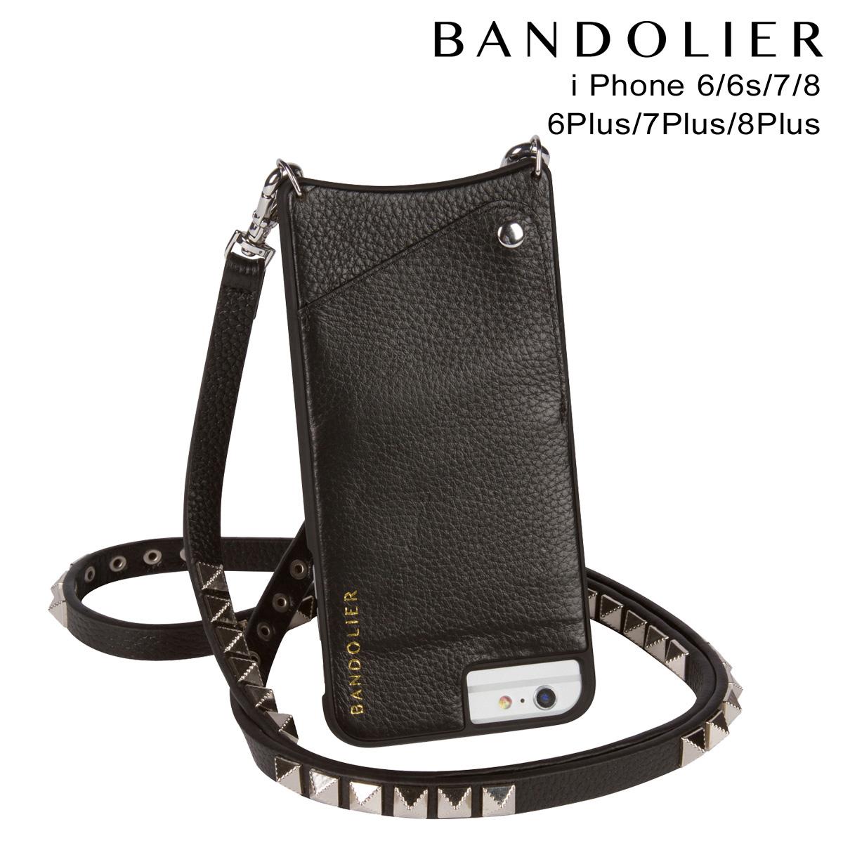 バンドリヤー BANDOLIER iPhone8 iPhone7 7Plus 6s ケース スマホ アイフォン プラス JENNY SILVER レザー メンズ レディース ブラック