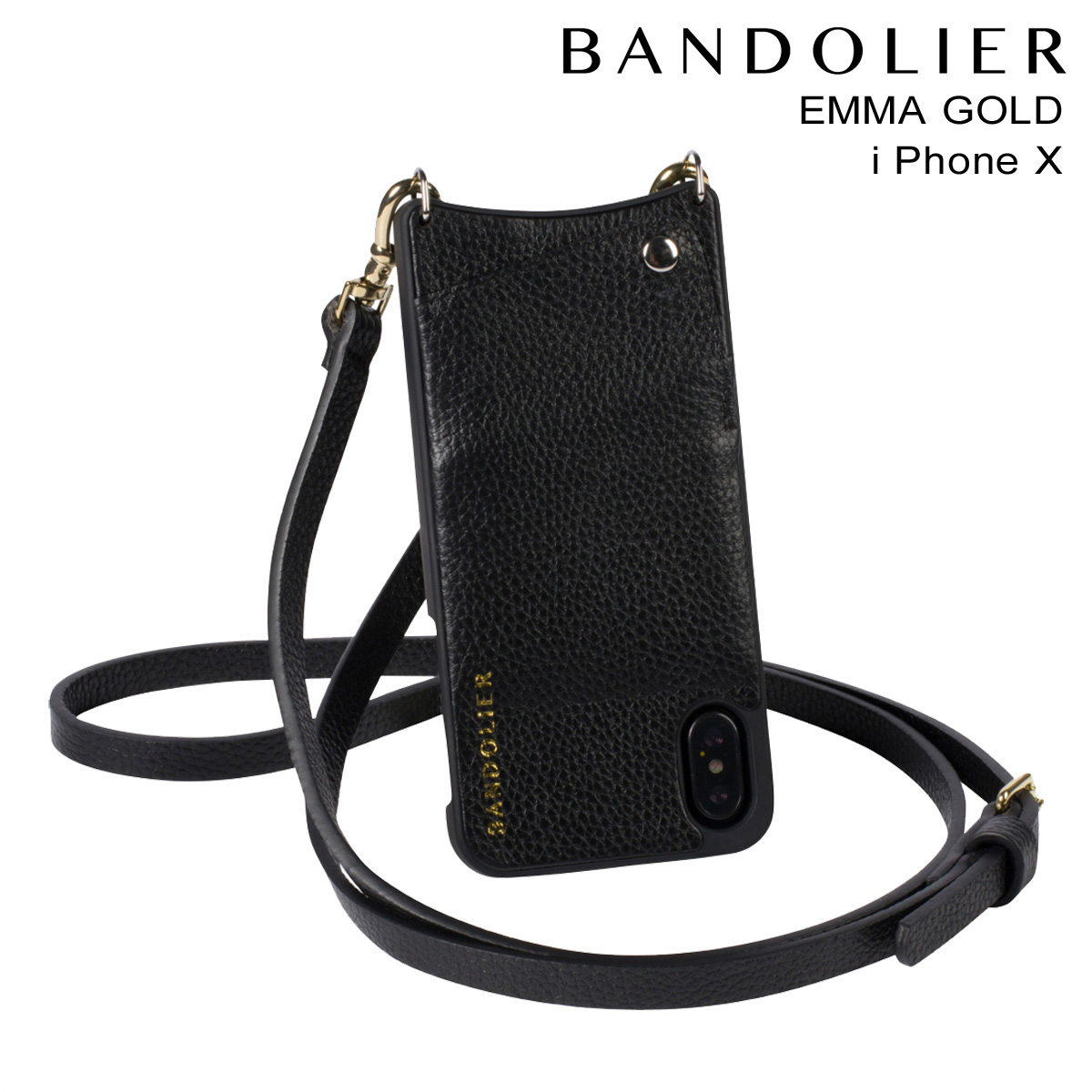 バンドリヤー BANDOLIER iPhoneX ケース スマホ アイフォン EMMA GOLD レザー メンズ レディース