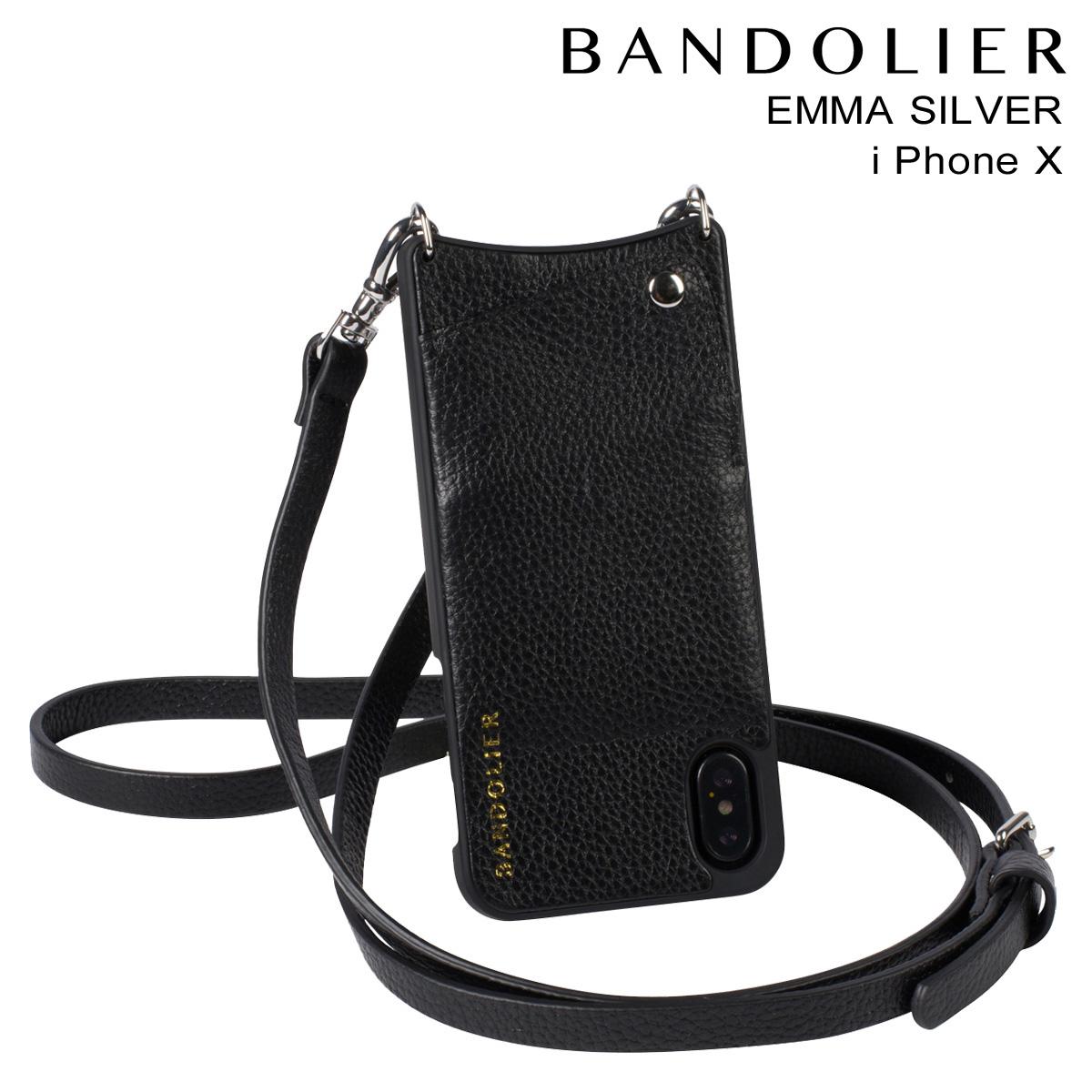 バンドリヤー BANDOLIER iPhone X ケース スマホ 携帯 アイフォン EMMA SILVER レザー メンズ レディース