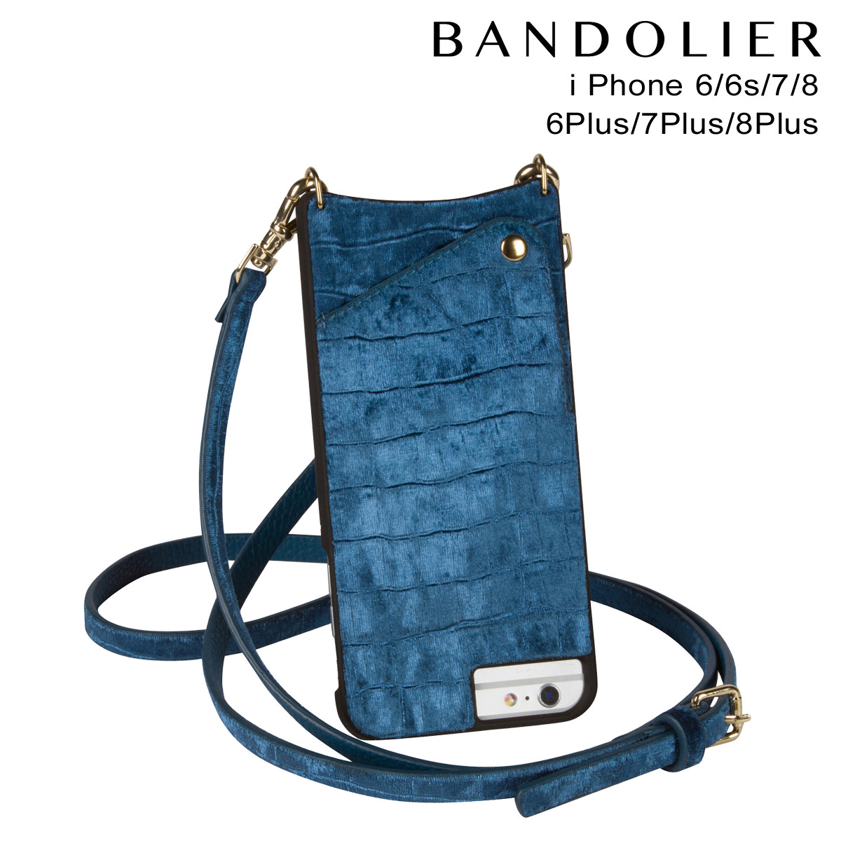 バンドリヤー BANDOLIER iPhone8 iPhone7 7Plus 6s ケース スマホ アイフォン プラス EMMA VELVET ベルベット メンズ レディース ブルー