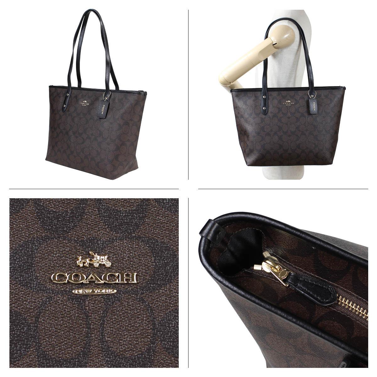 bd7eaf597 ... COACH coach bag tote bag Lady's CITY ZIP TOTE IN SIGNATURE F58292 brown  ...