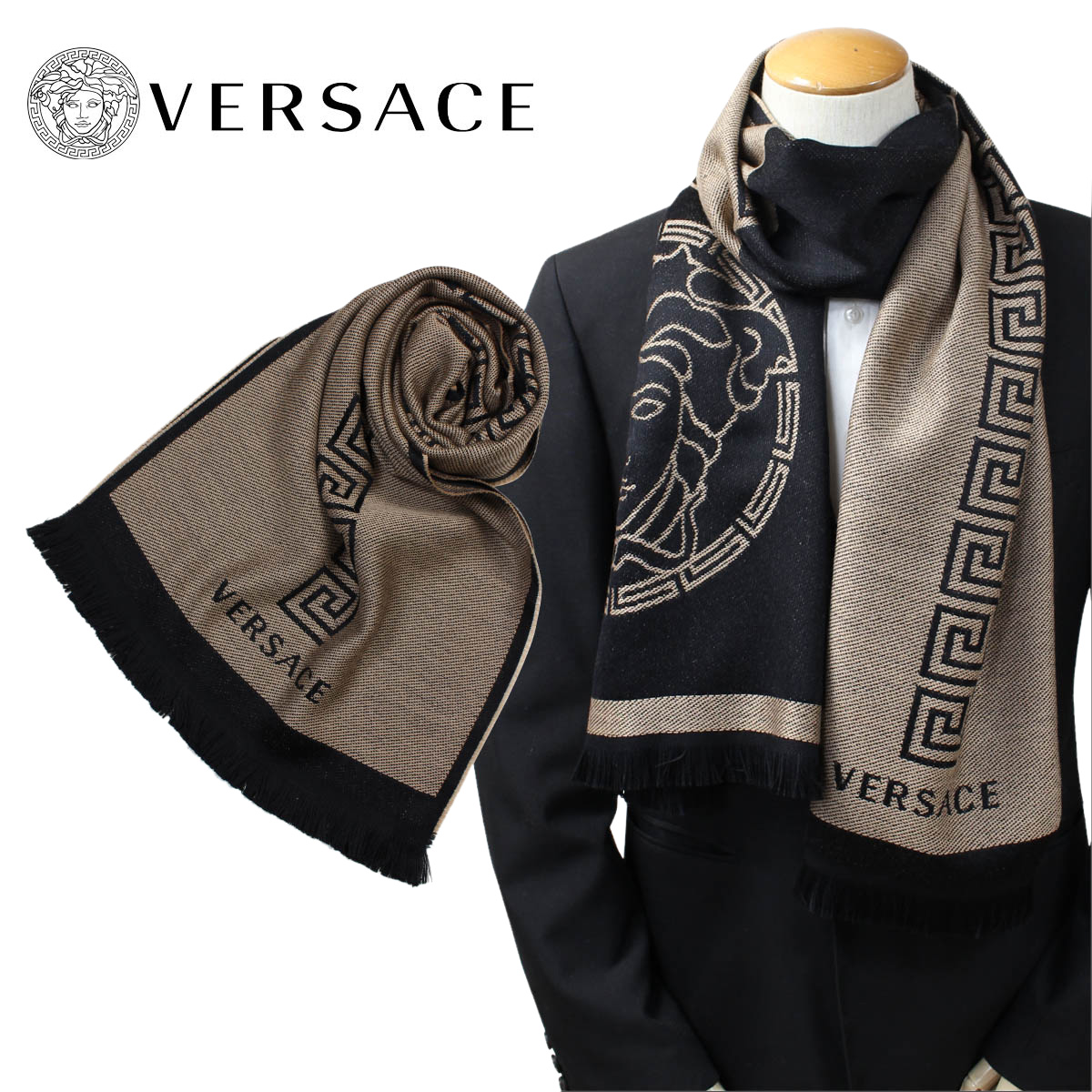 e99cce3faf5 Casual business black 27SC44  11 14 Shinnyu load  made in VERSACE scarf  Versace bell search men wool Italy