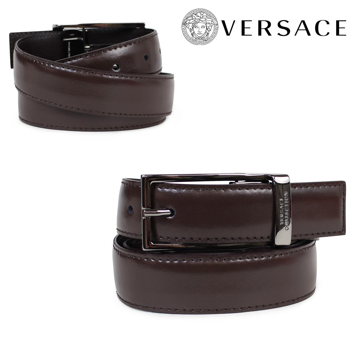 VERSACE ベルト ヴェルサーチ ベルサーチ メンズ 本革 レザーベルト ブラウン イタリア製 カジュアル ビジネス V91225S