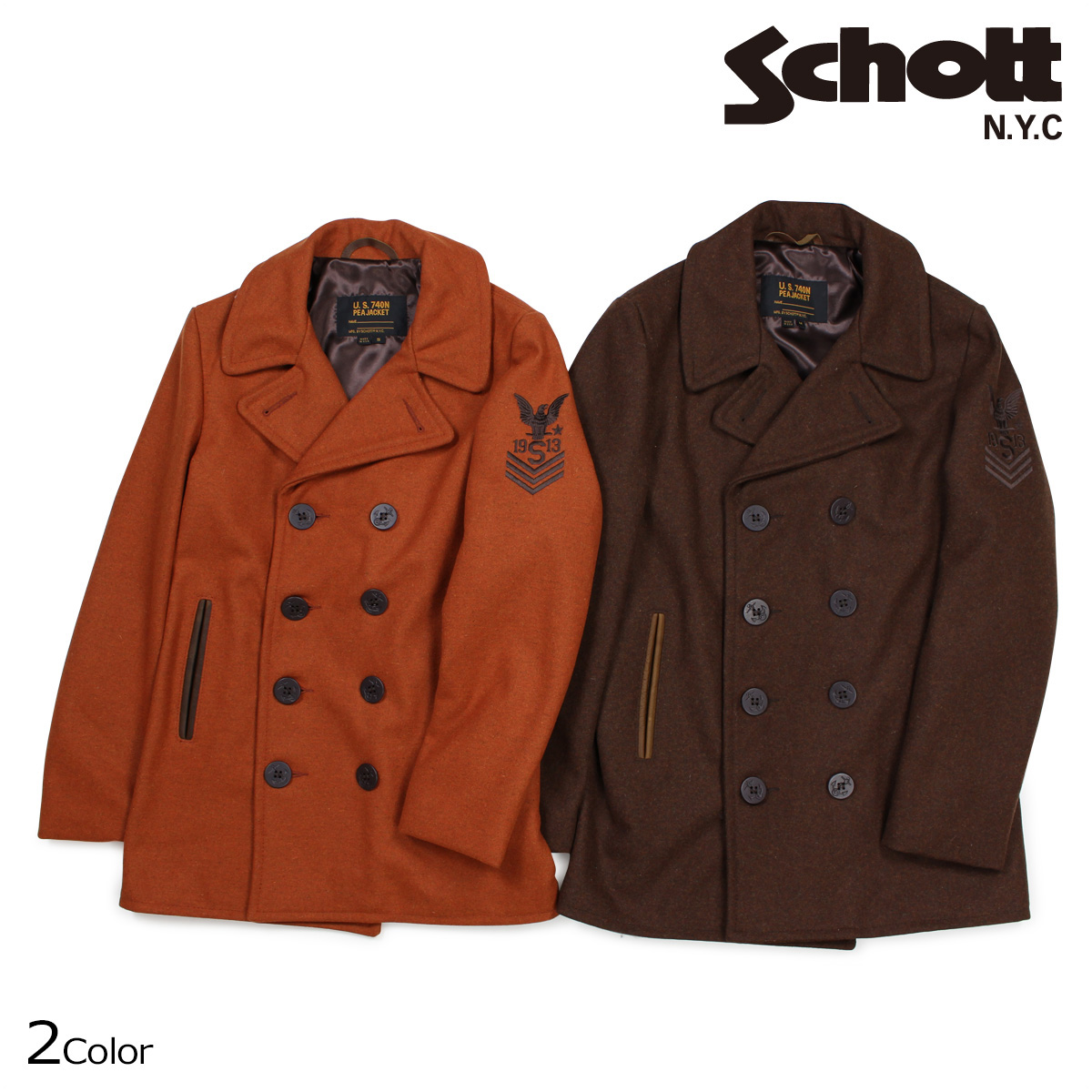 Schott ショット ピーコート Pコート コート メンズ HEATHERED WOOL PEACOAT 762