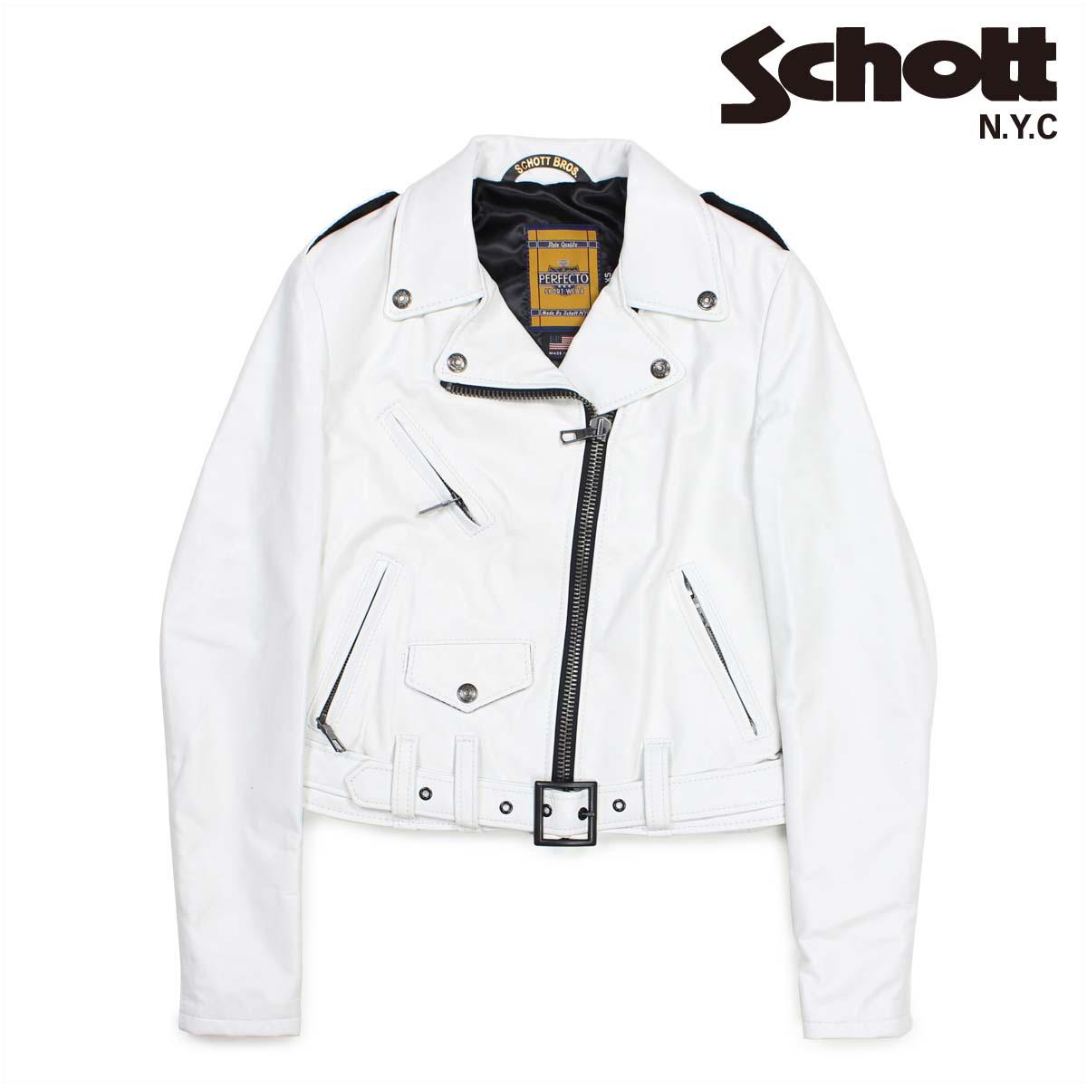 Schott ショット ダブルライダースジャケット ジャケット レザージャケット レディース LAMBSKIN PERFECTO LEATHER JACKET ホワイト SPERW 【決算セール 返品不可】