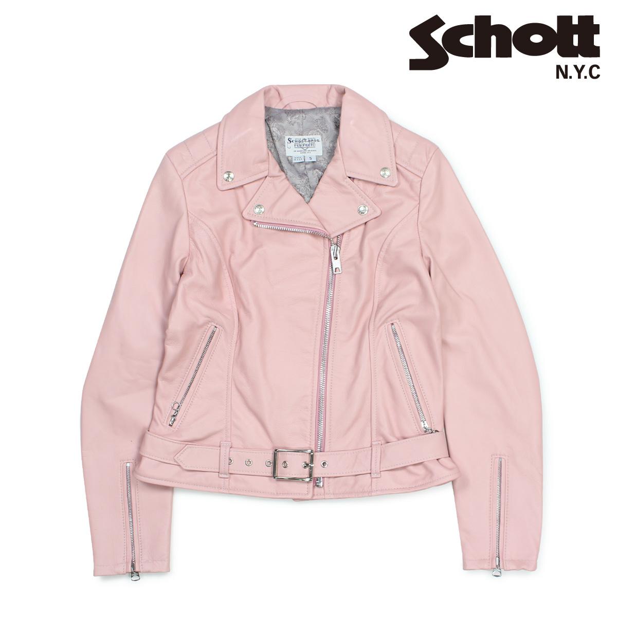 Schott ショット ダブルライダースジャケット ジャケット レザージャケット レディース MOTORCYCLE JACKET ピンク 216W 【決算セール 返品不可】