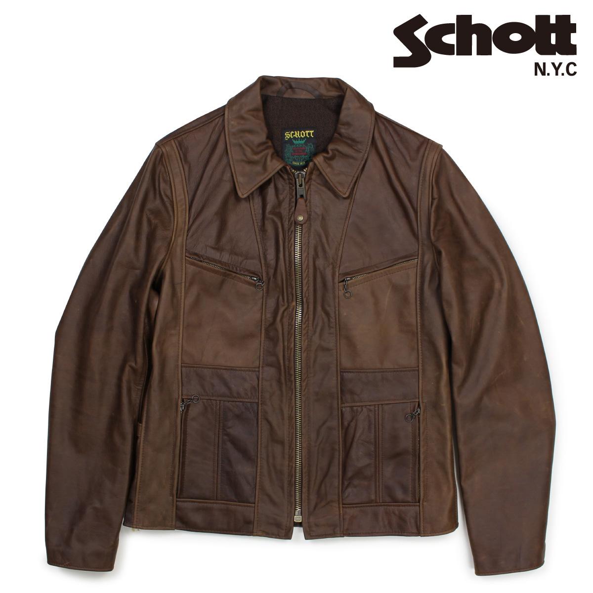 Schott ショット シングルライダースジャケット ジャケット レザージャケット メンズ MOTORCYCLE JACKET ブラウン 502