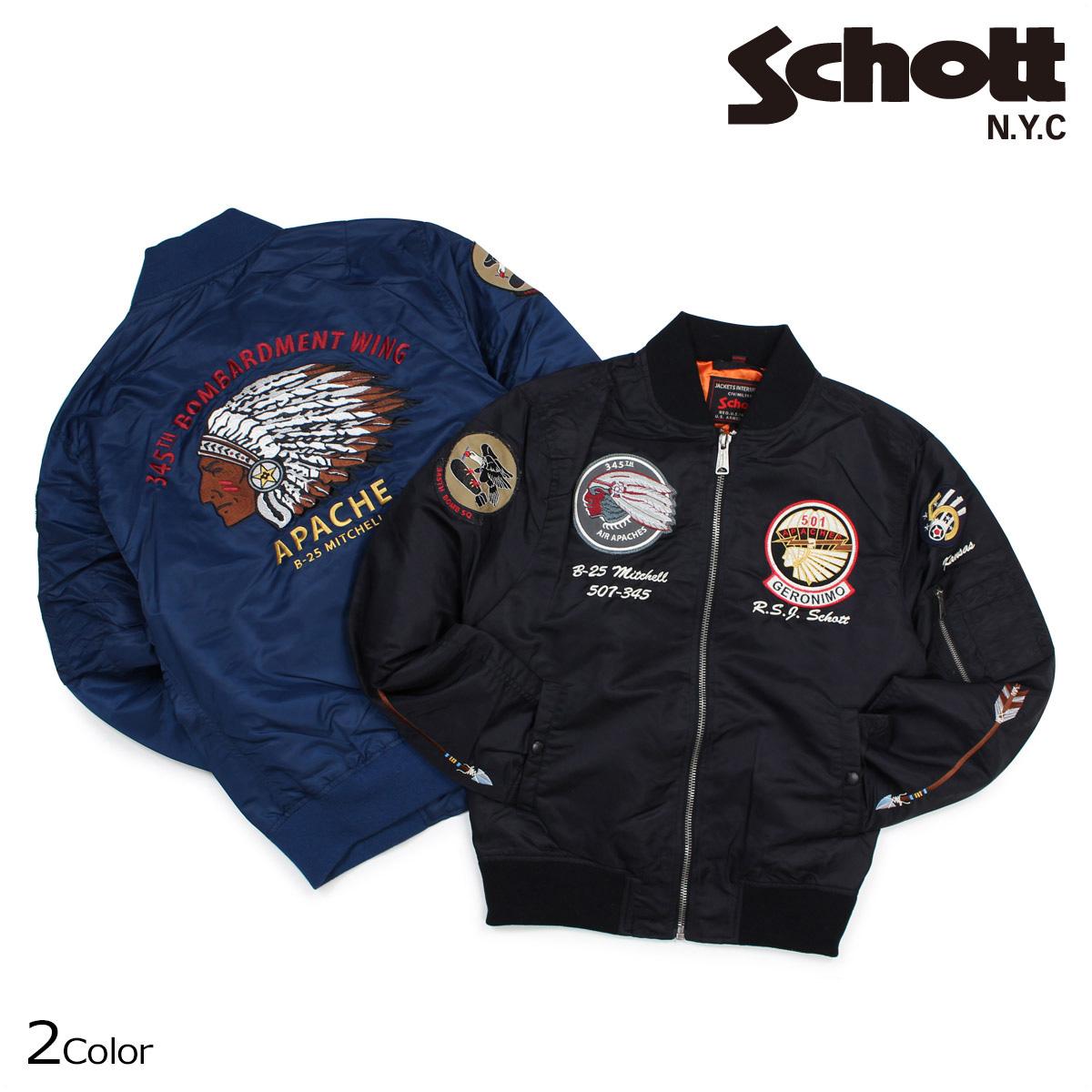 Schott ショット ジャケット MA-1 フライトジャケット メンズ FLIGHT JACKET ブラック ネイビー 9723