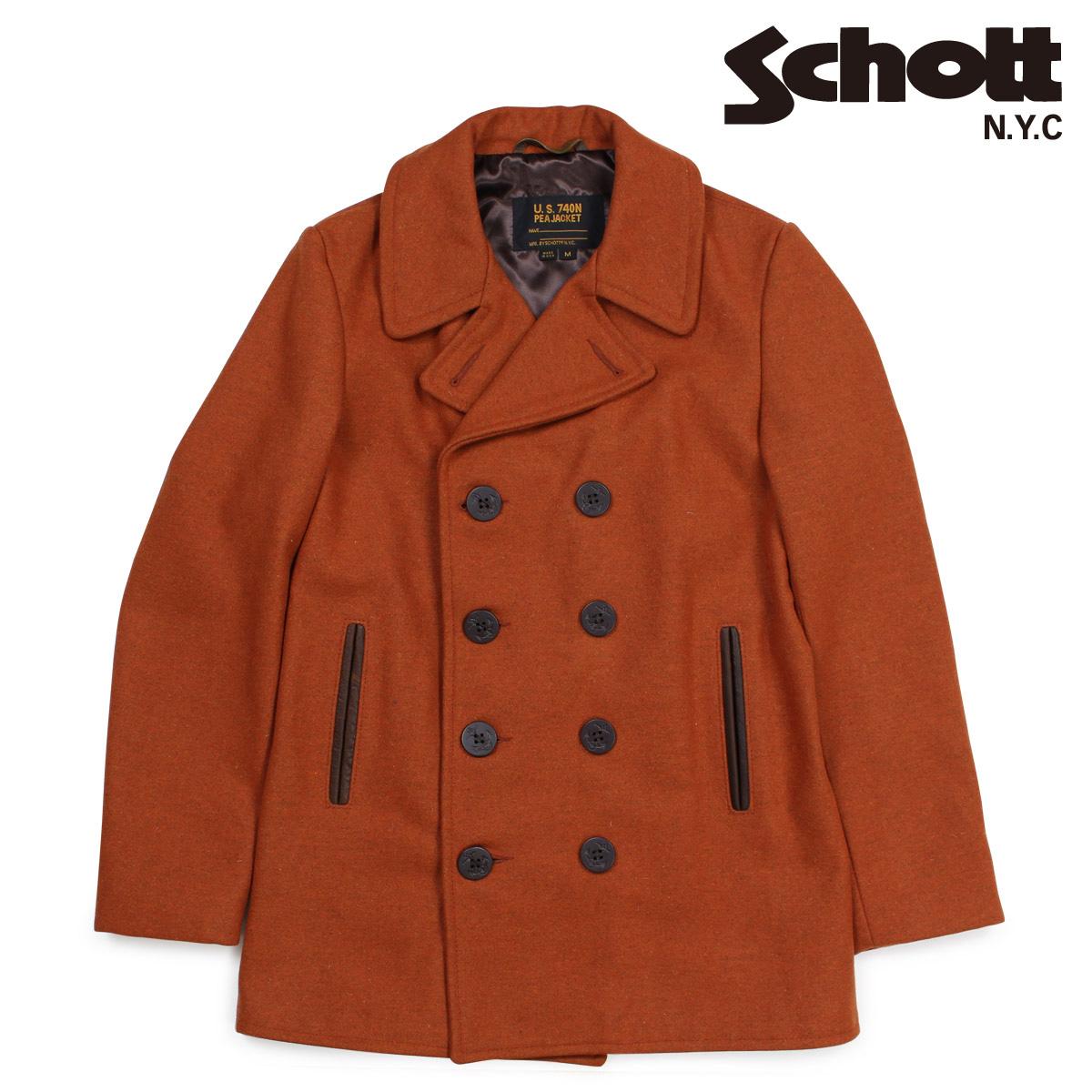 Schott ショット ピーコート Pコート コート メンズ HEATHERED WOOL PEACOAT ブラウン 762N