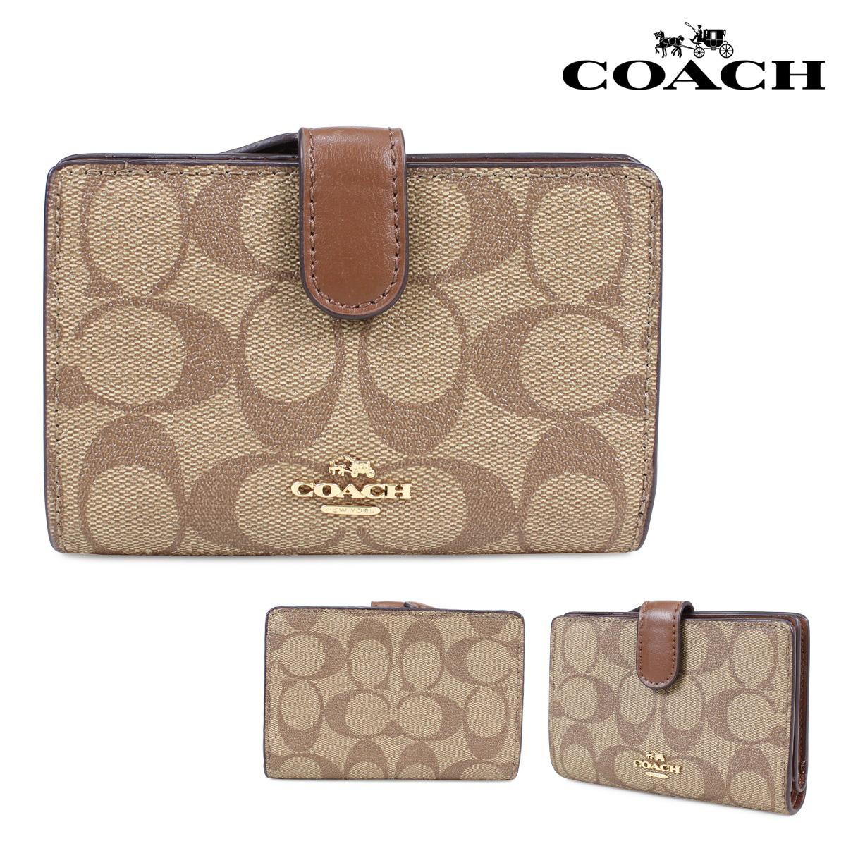 COACH コーチ 財布 二つ折り レディース レザー カーキ F23553