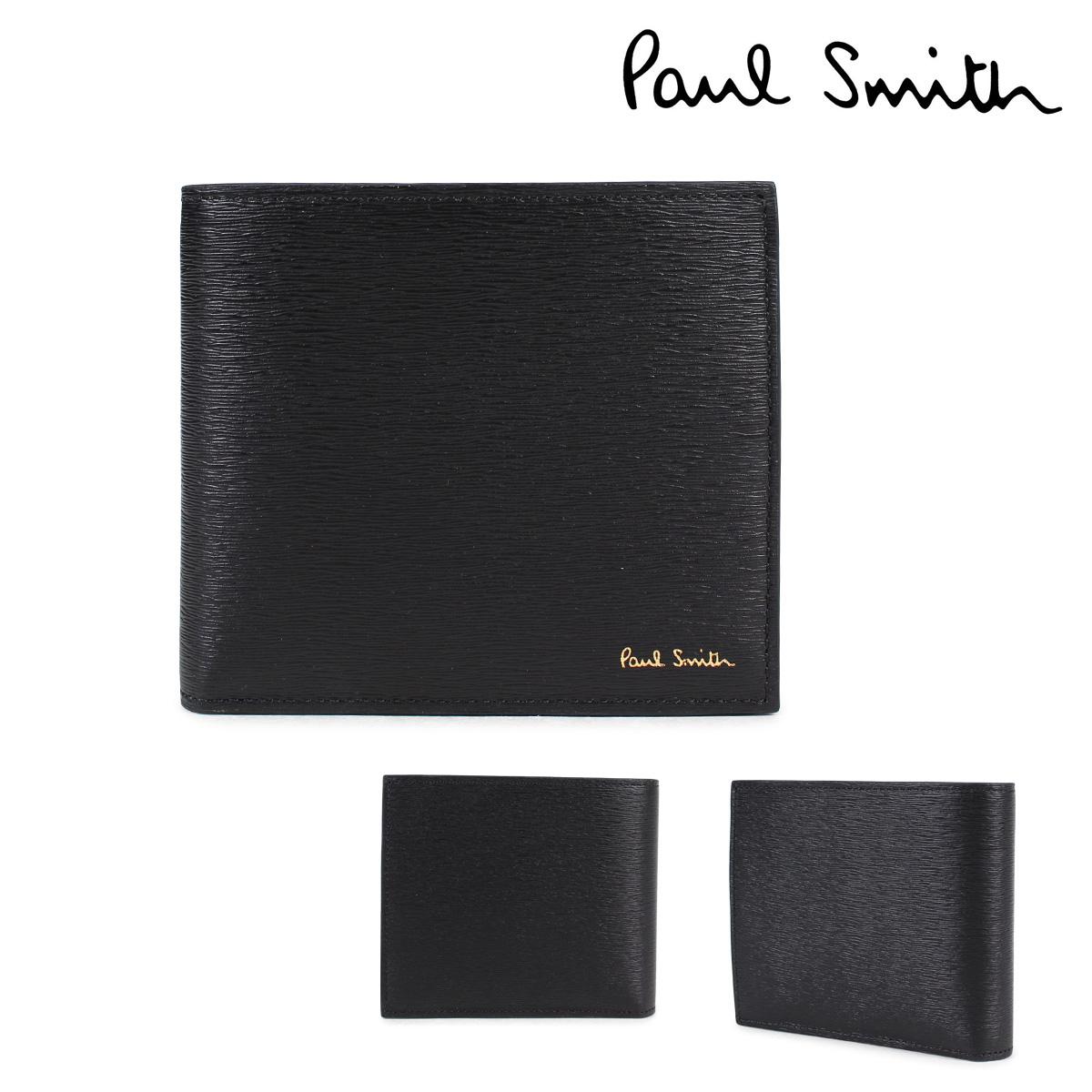 Paul Smith 財布 メンズ 二つ折り ポールスミス SMART WALLET レザー ブラック 4833 W905 79