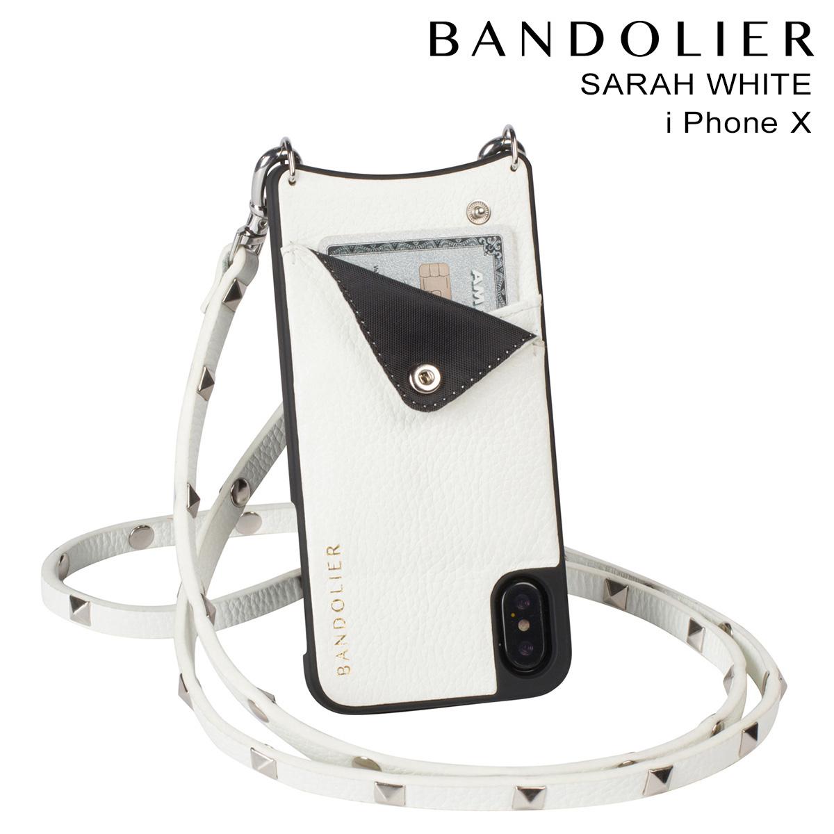 バンドリヤー BANDOLIER iPhoneX ケース スマホ アイフォン SARAH WHITE レザー メンズ レディース [9/14 再入荷]