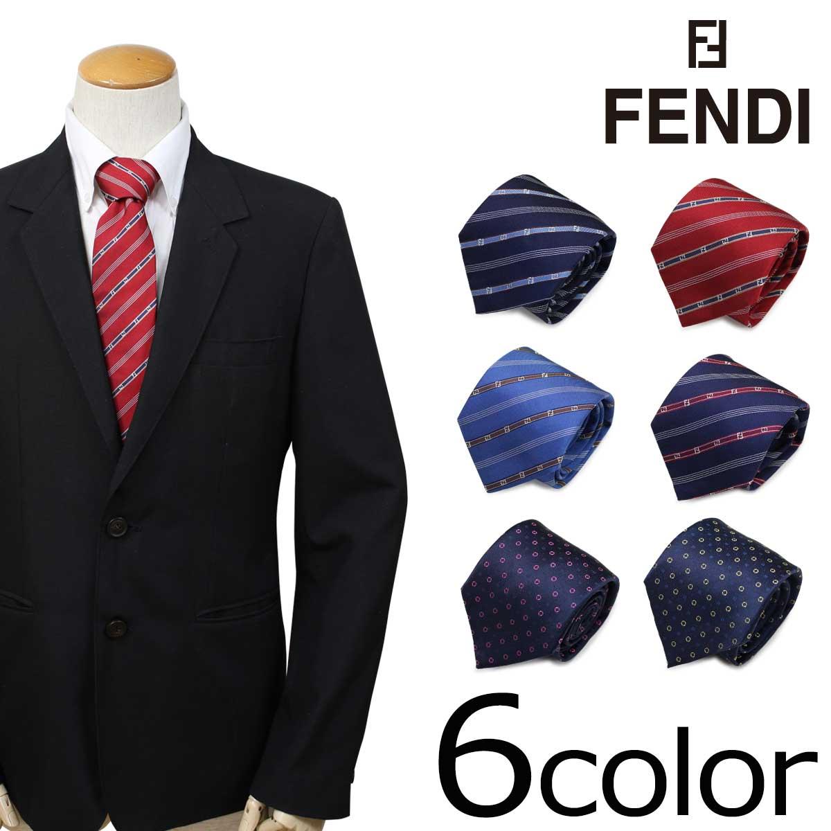 【最大2000円OFFクーポン配布】 FENDI フェンディ ネクタイ シルク イタリア製 ビジネス 結婚式 メンズ