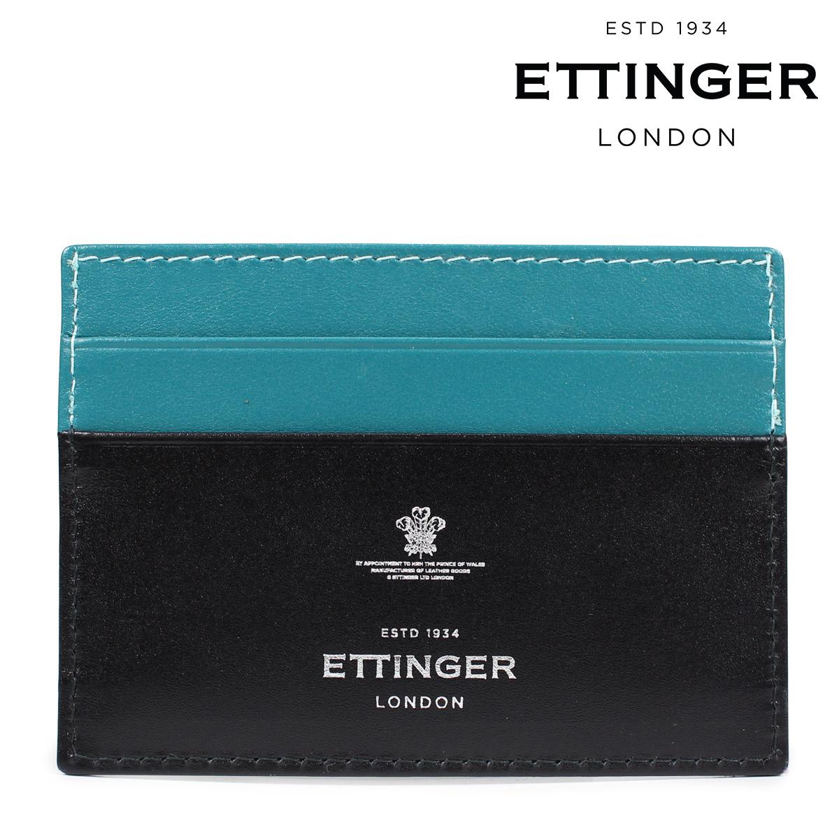 ETTINGER エッティンガー 名刺入れ カードケース メンズ STERLING FLAT CREDIT CARD CASE ブラック ST248JR [9/7 再入荷]