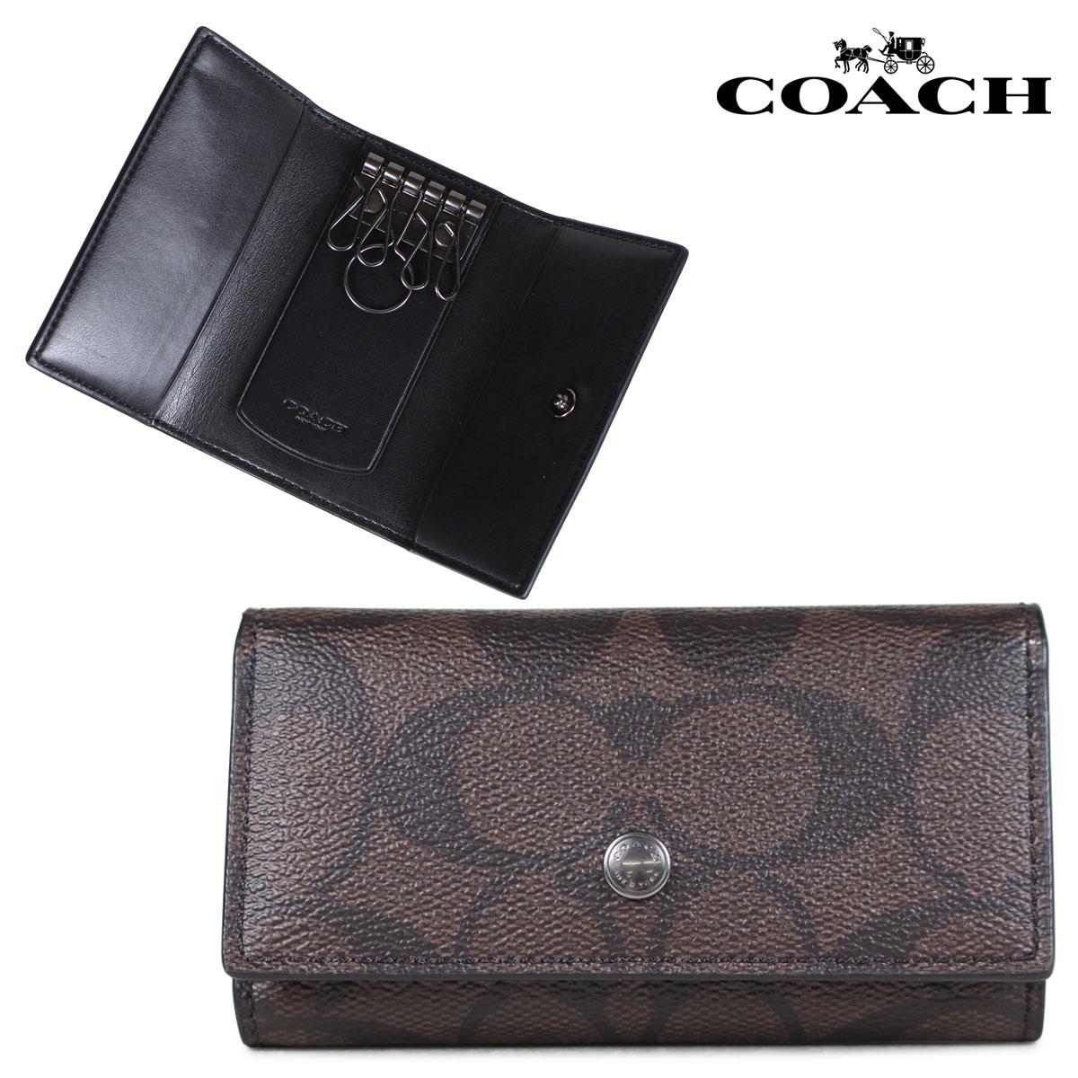6cff663c COACH coach key case men gap Dis leather brown F26104