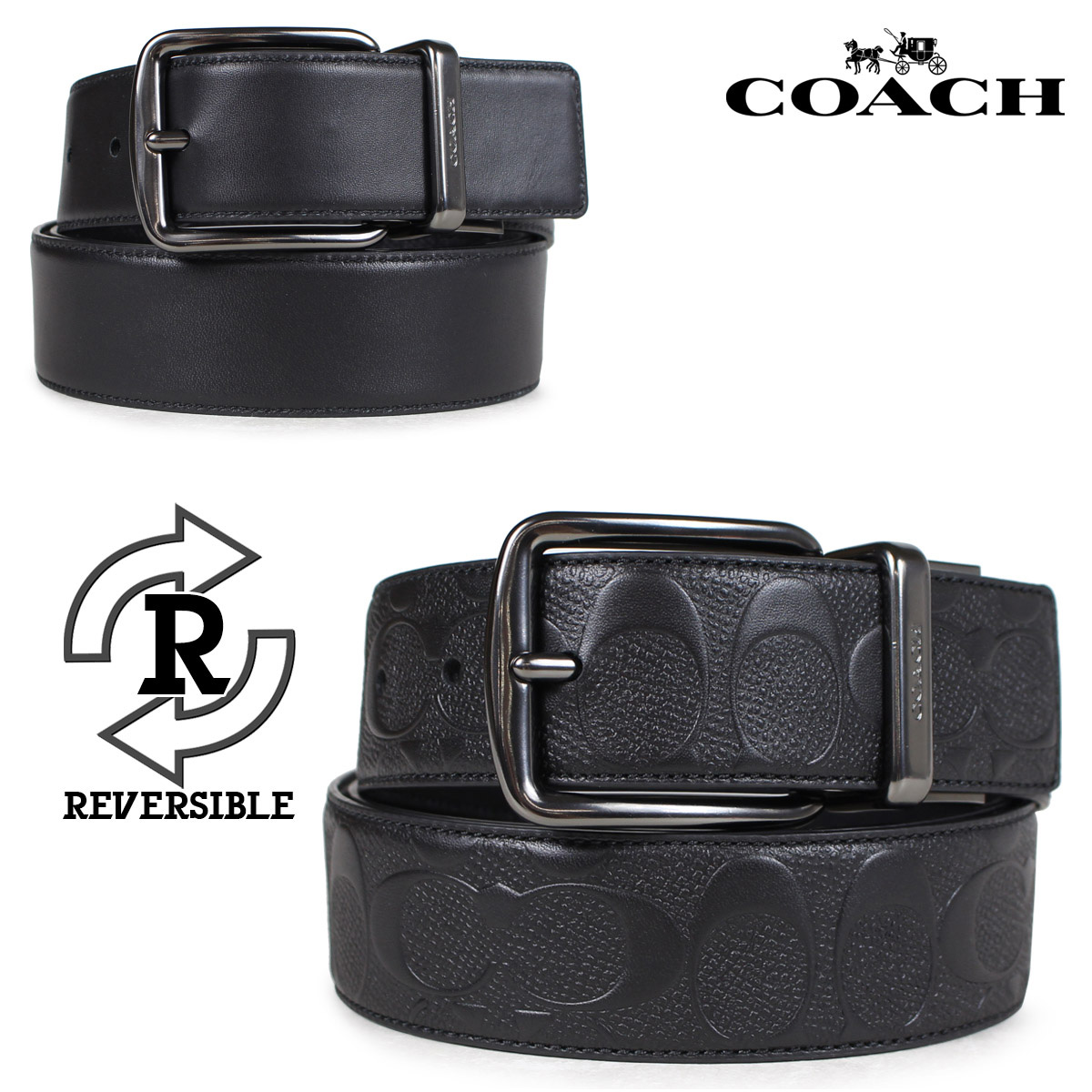 1bae13af443d COACH coach belt reversible men leather black F55157  7 10 Shinnyu load