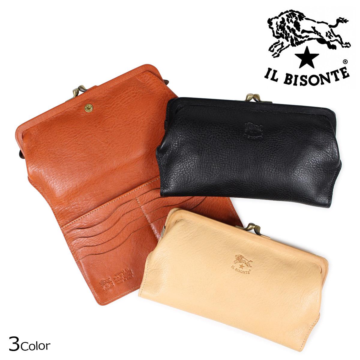 IL BISONTE イルビゾンテ 財布 長財布 レディース がま口 STANDARD ブラック ベージュ ブラウン C0671 P