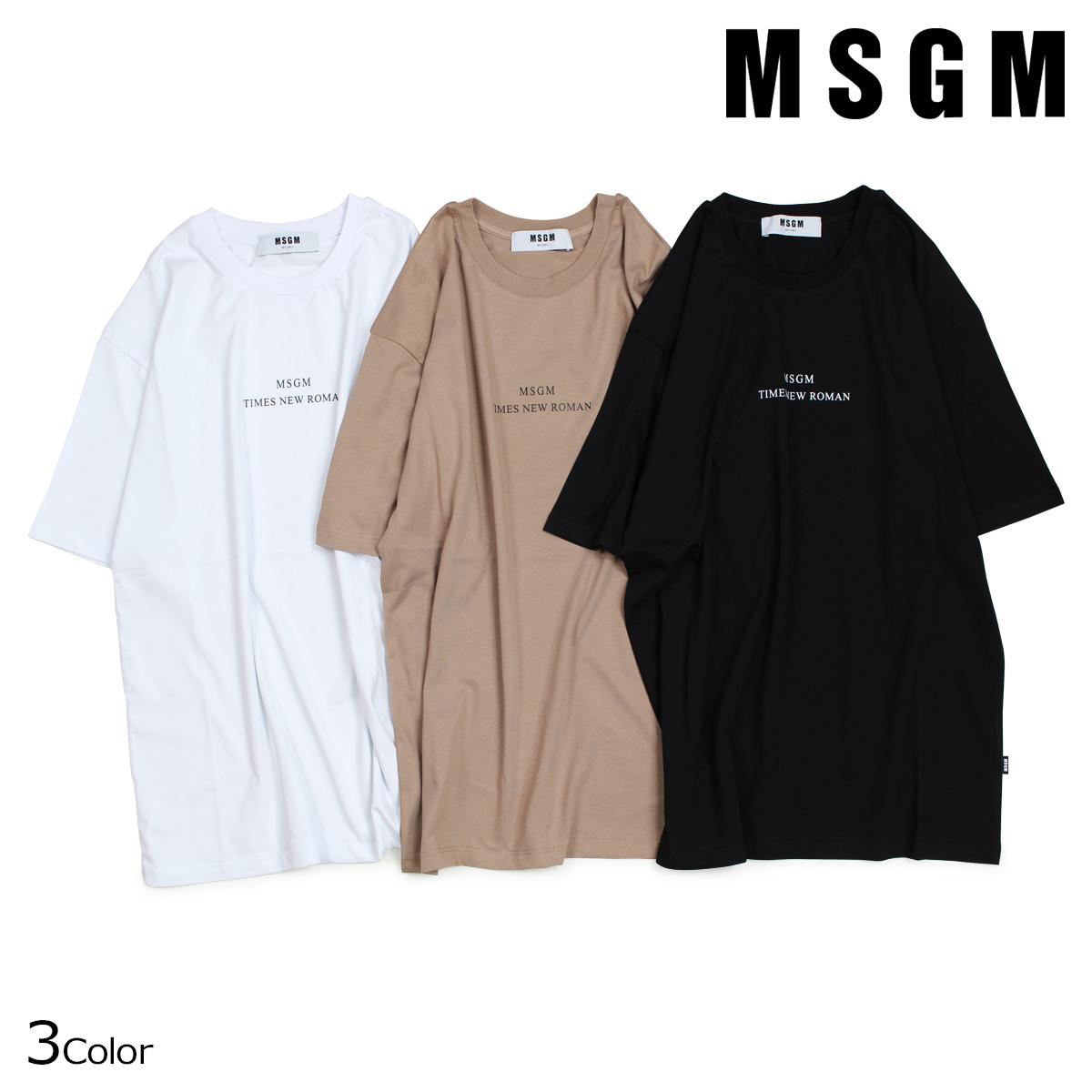 エムエスジーエム MSGM Tシャツ メンズ 半袖 TIMES NEW ROMAN PRINT T-SHIRT ブラック ホワイト ベージュ 2540MM103 184798
