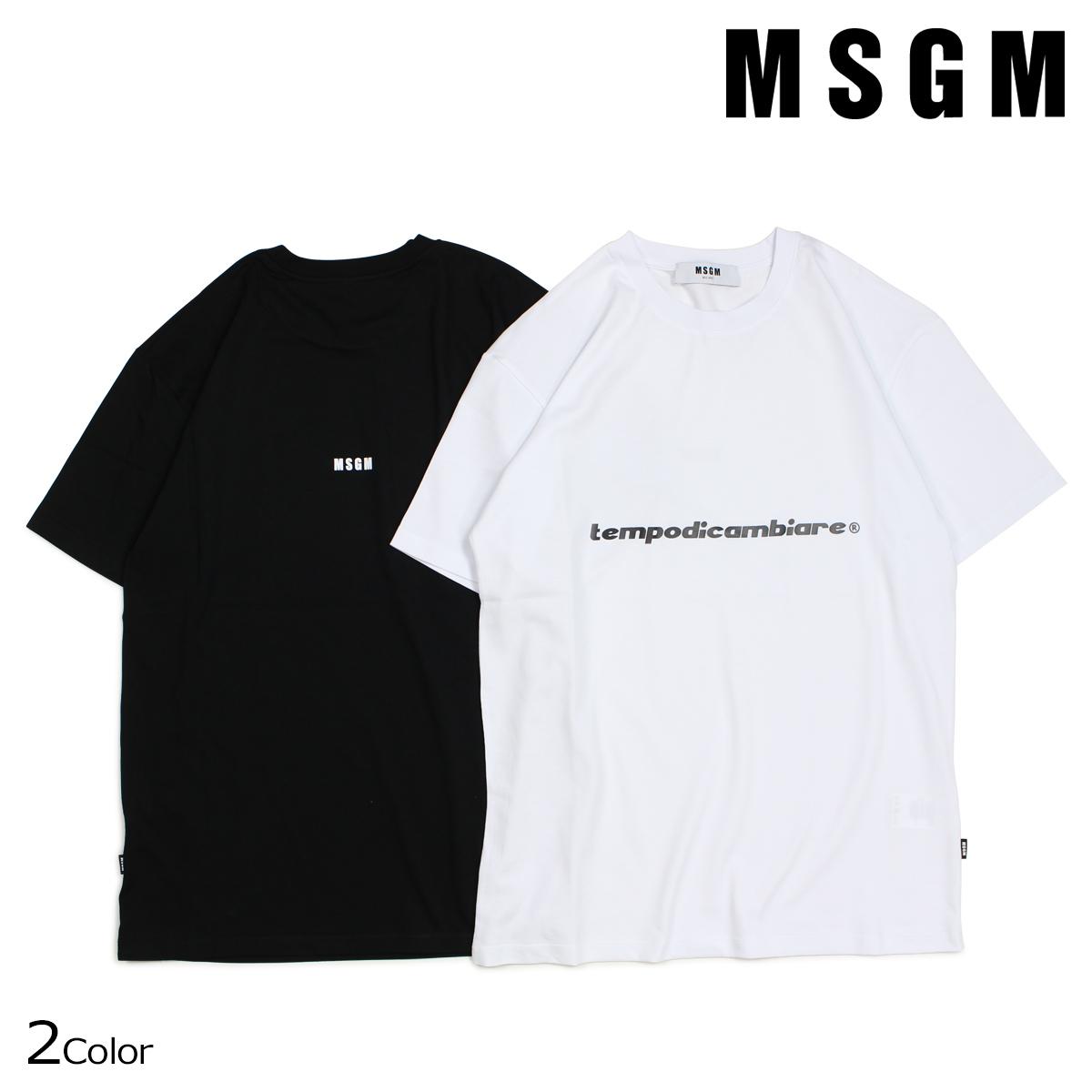 エムエスジーエム Tシャツ メンズ MSGM 半袖 SHORT SLEEVE T-SHIRT WITH PRINT MSGM ブラック ホワイト 2540MM60 184798