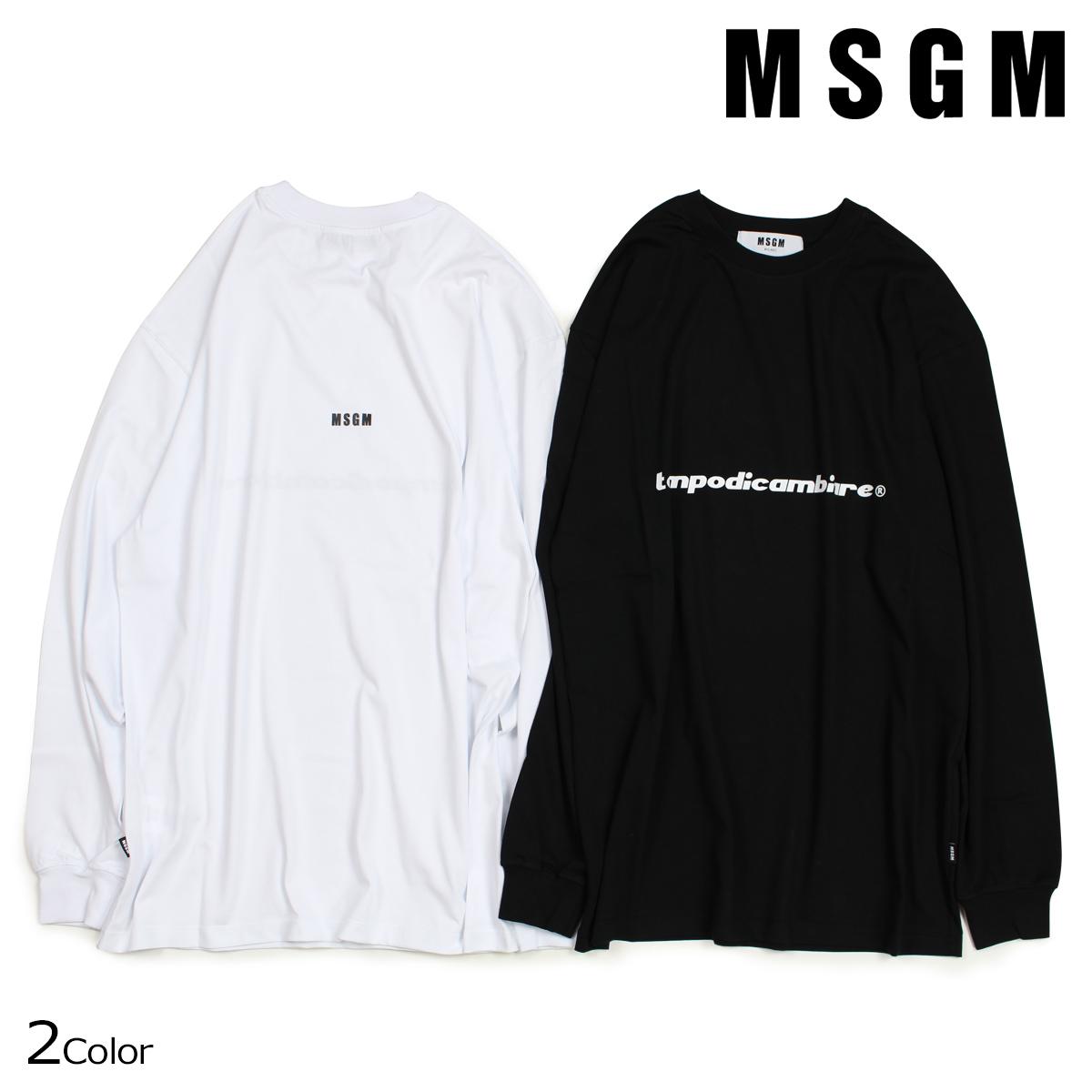 エムエスジーエム MSGM Tシャツ メンズ 長袖 TEMPODICAMBIARE LONG SLEEVE T-SHIRT WITH PRINT MSGM ブラック ホワイト 2540MM90 184798