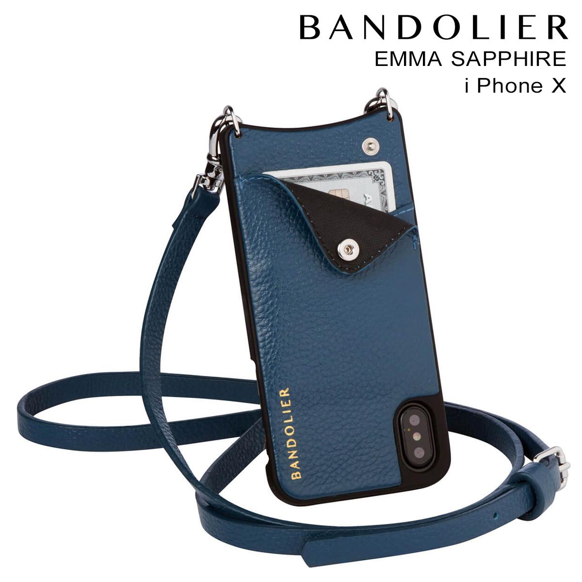 バンドリヤー BANDOLIER iPhoneX ケース スマホ アイフォン EMMA SAPPHIRE レザー メンズ レディース [9/19 新入荷]