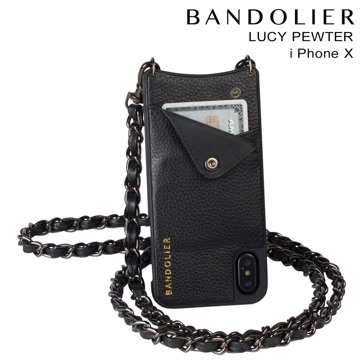 バンドリヤー BANDOLIER iPhone X ケース スマホ 携帯 アイフォン LUCY PEWTER レザー メンズ レディース
