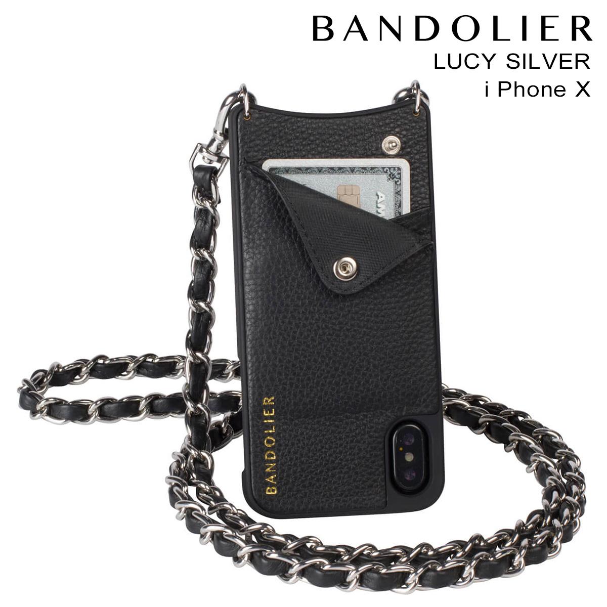 バンドリヤー BANDOLIER iPhoneX ケース スマホ アイフォン LUCY SILVER レザー メンズ レディース