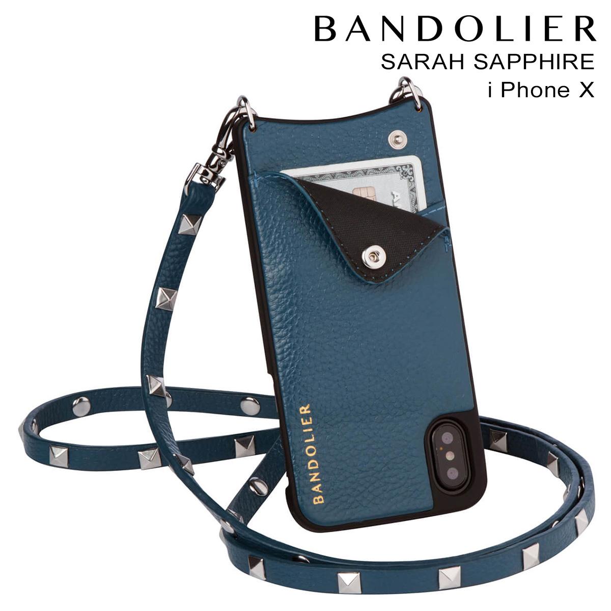 バンドリヤー BANDOLIER iPhoneX ケース スマホ アイフォン SARAH SAPPHIRE レザー メンズ レディース