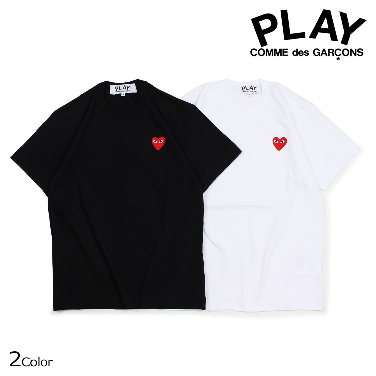 COMME des GARCONS PLAY Tシャツ 半袖 コムデギャルソン メンズ RED HEART T-SHIRT ブラック ホワイト AZT108 [10/3 新入荷]