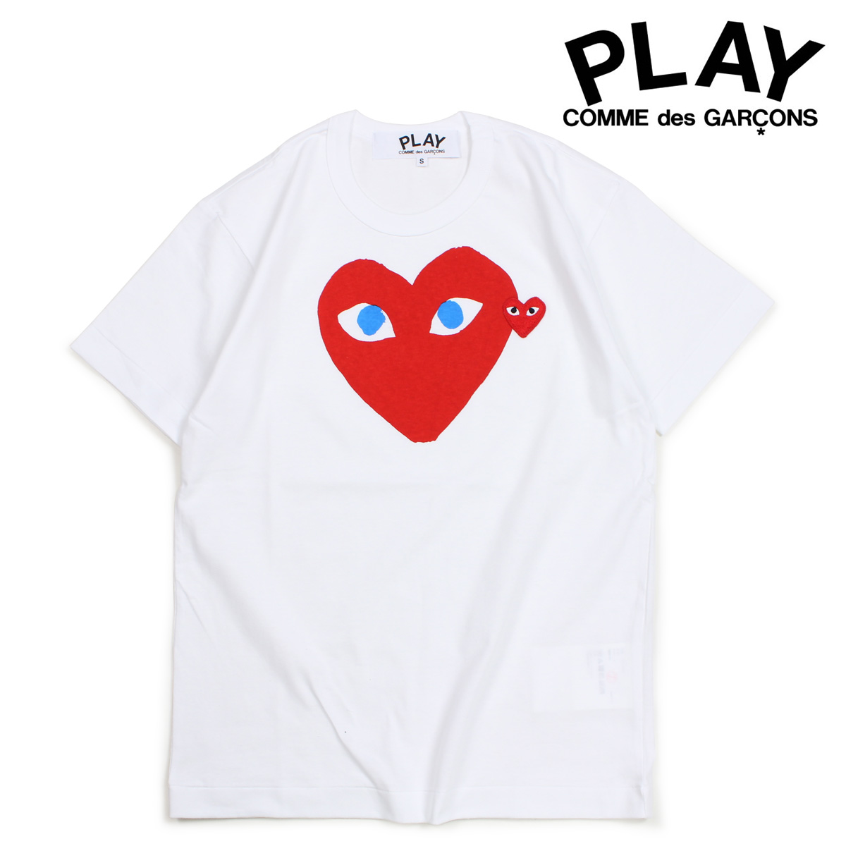 COMME des GARCONS PLAY Tシャツ 半袖 コムデギャルソン メンズ RED HEART T-SHIRT ホワイト AZT086 [10/3 新入荷]