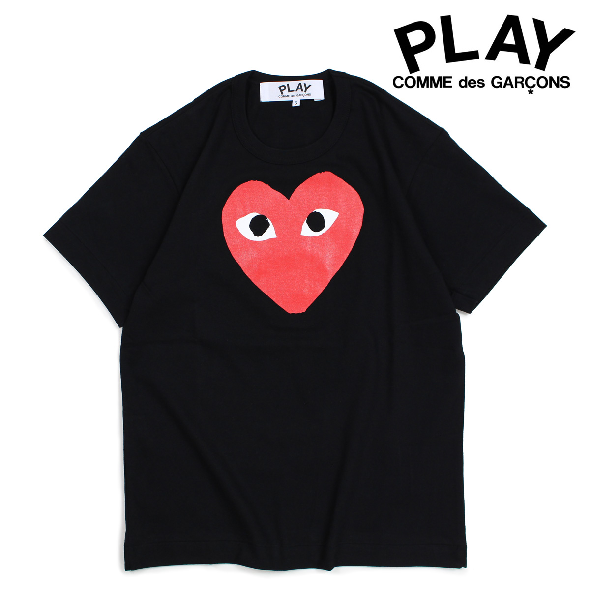 COMME des GARCONS PLAY Tシャツ 半袖 コムデギャルソン メンズ RED HEART T-SHIRT ブラック AZT112