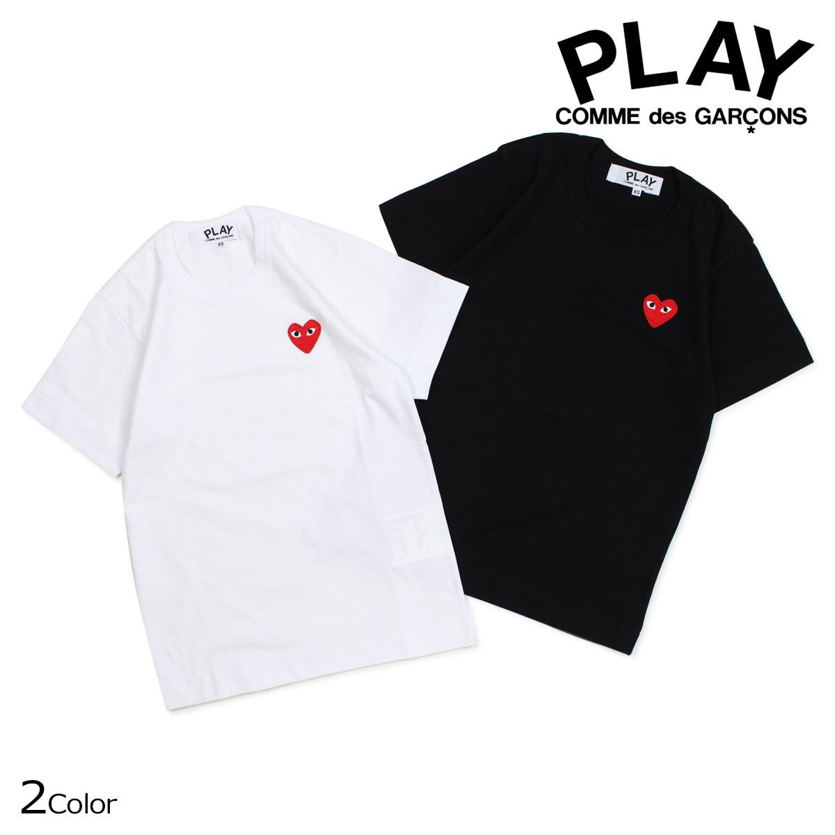 COMME des GARCONS PLAY Tシャツ 半袖 コムデギャルソン レディース RED HEART T-SHIRT ブラック ホワイト AZT107