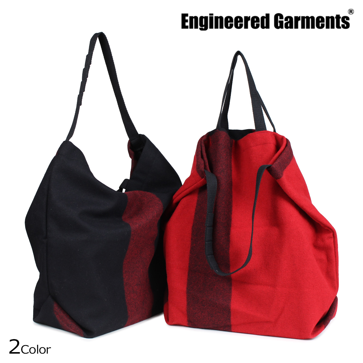 ENGINEERED GARMENTS エンジニアドガーメンツ バッグ メンズ レディース トートバッグ ショルダー CARRY ALL TOTE W STRAP ブラック レッド