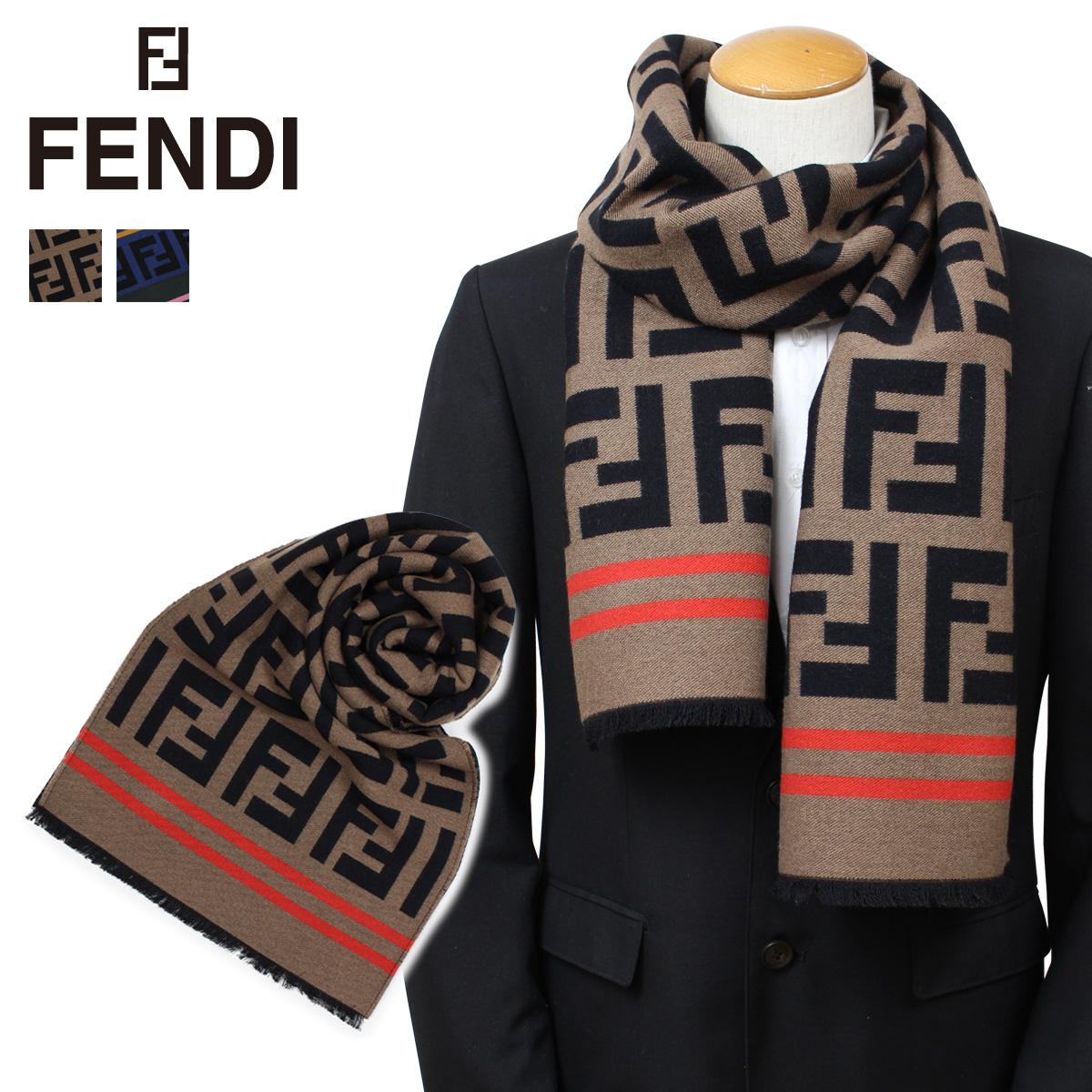 FENDI フェンディ マフラー メンズ レディース ウール シルク ブラウン マルチ FXT151 A3Q1 [9/26 新入荷]
