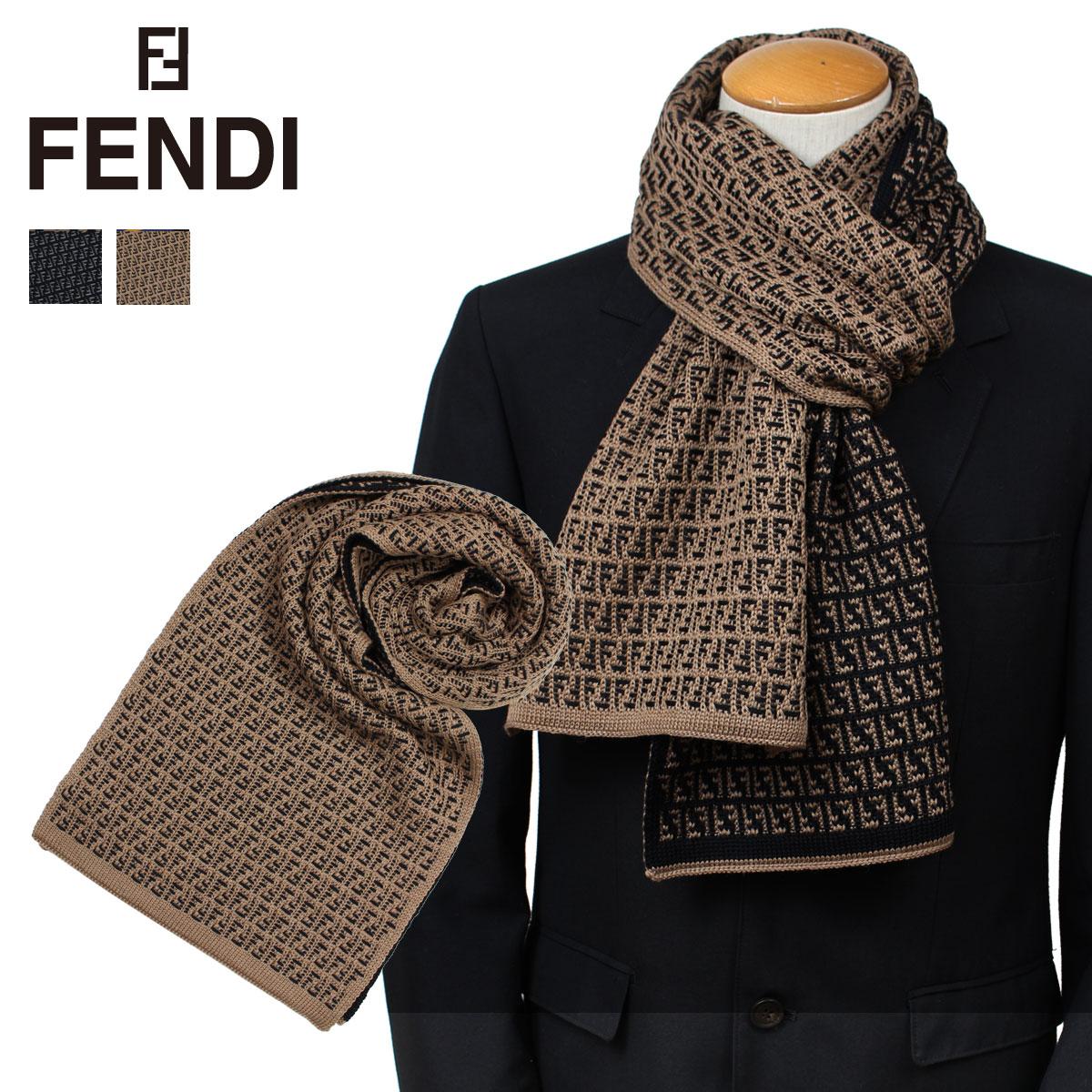 FENDI フェンディ マフラー メンズ ウール ブラック ブラウン FXS124 I17 [9/26 新入荷]