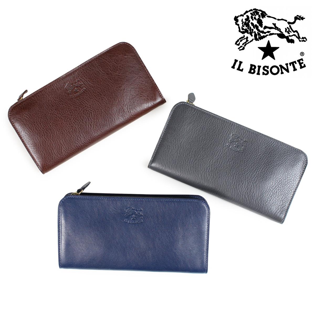 IL BISONTE イルビゾンテ 財布 長財布 メンズ レディース ラウンドファスナー LONG WALLET VACCHETTA グレー ネイビー ダークブラウン C0909 P