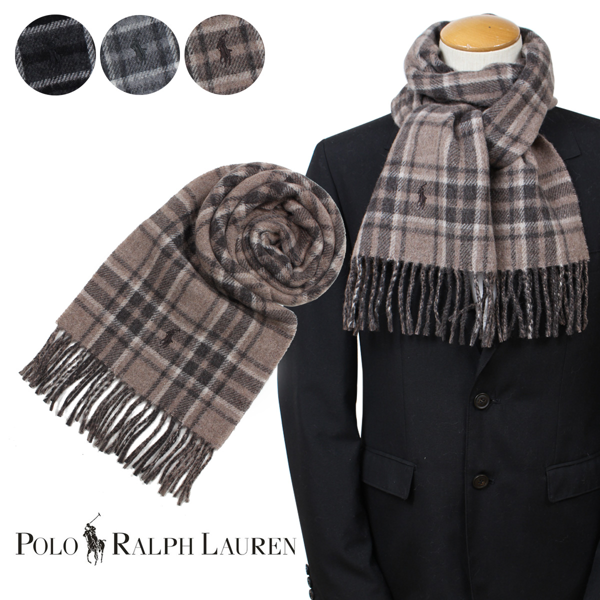 Polo Ralph Lauren Mens Wool Blend Italy Plaid Scarf Charcoal