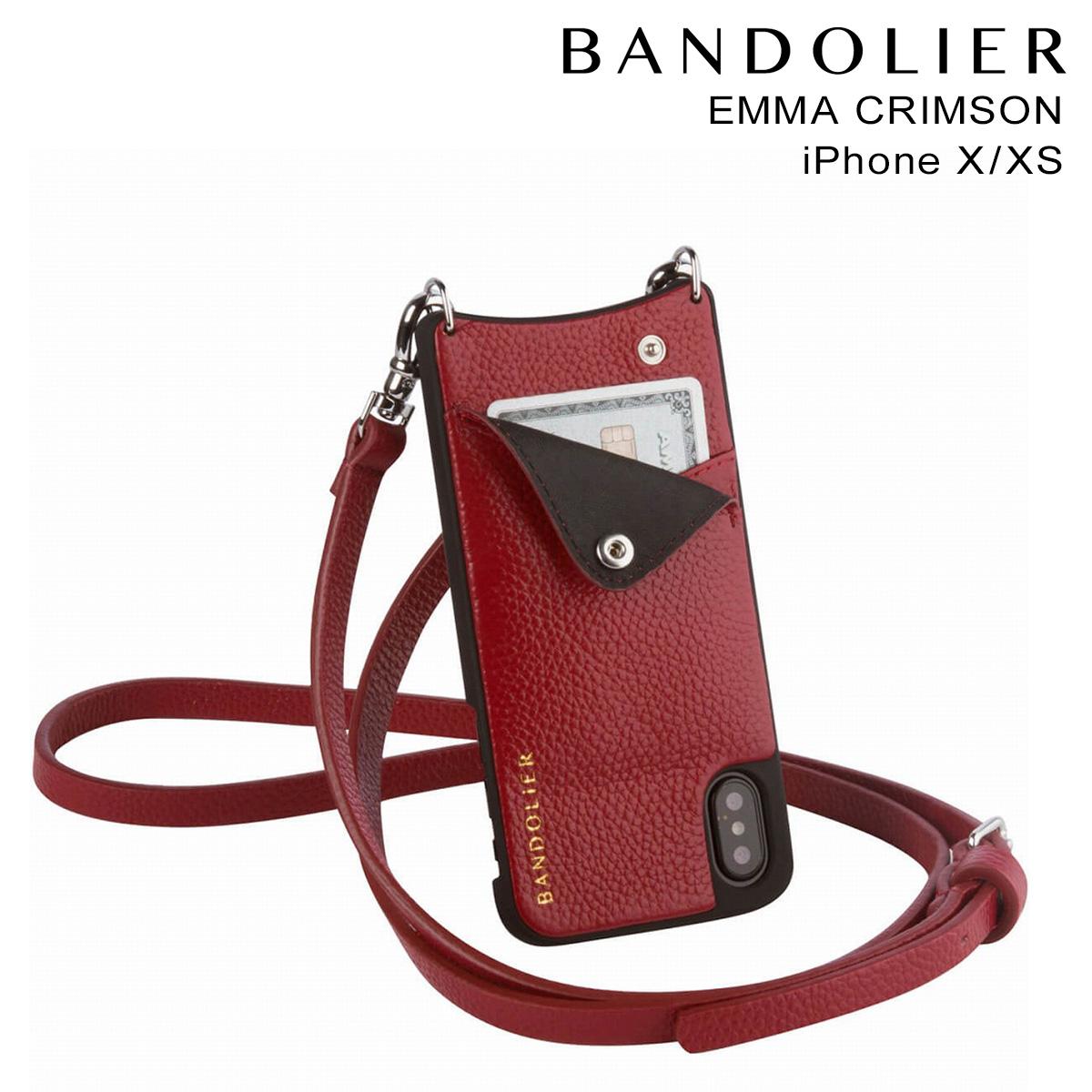 バンドリヤー BANDOLIER iPhoneXS X ケース スマホ アイフォン EMMA CRIMSON レザー メンズ レディース [4/5 再入荷]
