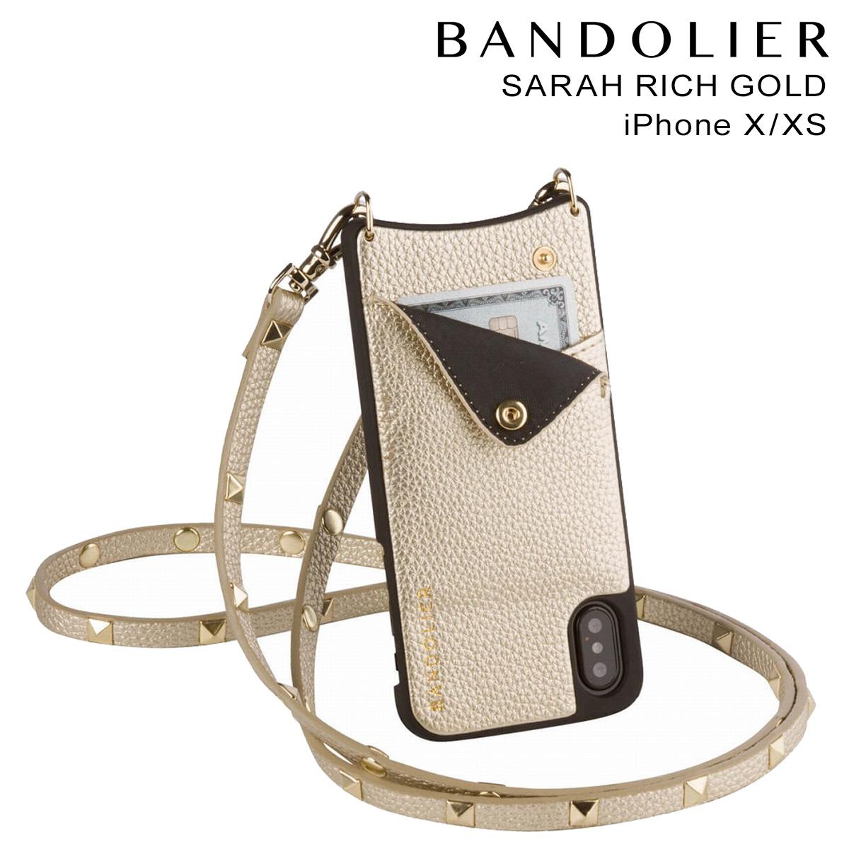 バンドリヤー BANDOLIER iPhoneXS X ケース スマホ アイフォン SARAH RICH GOLD レザー メンズ レディース [10/25 新入荷]