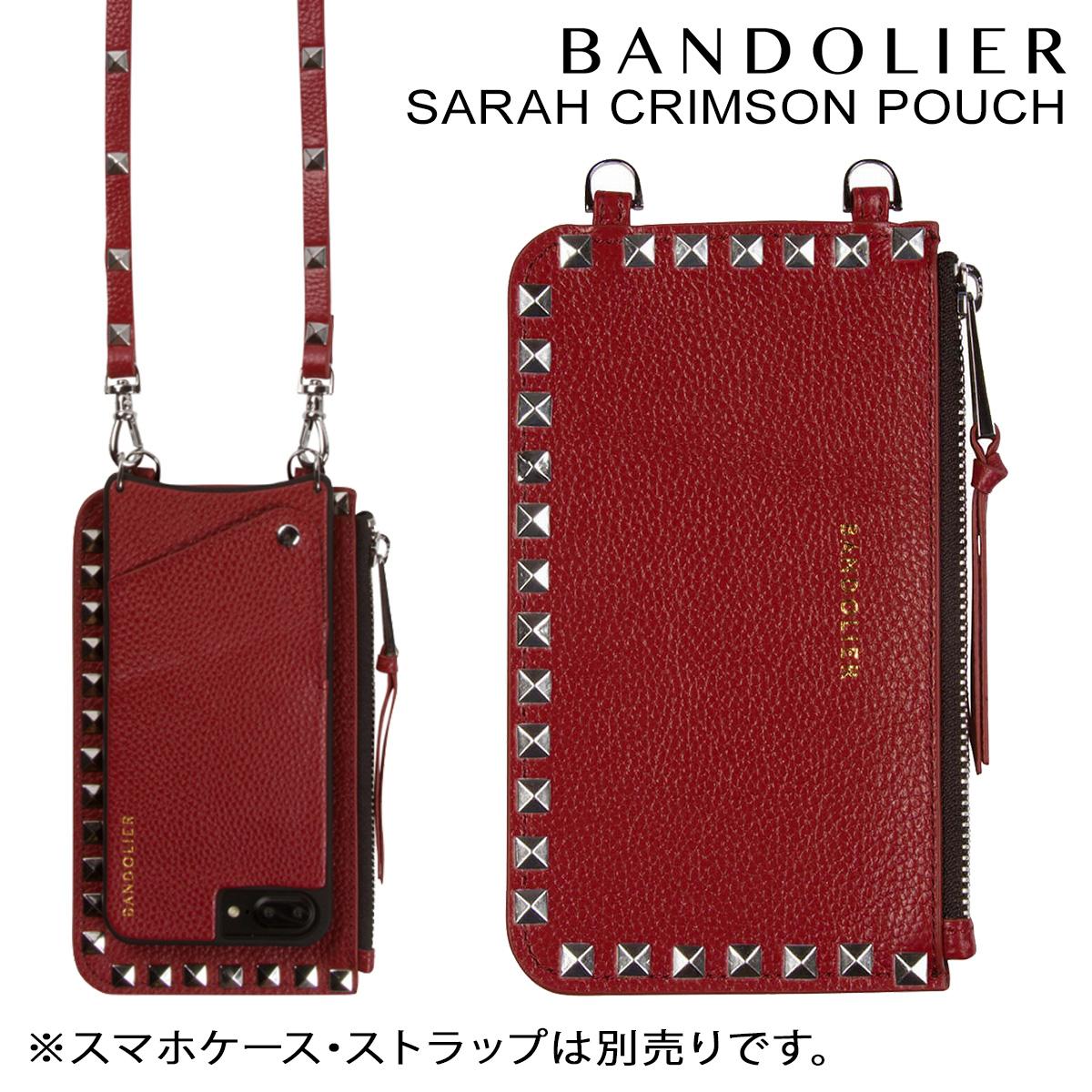 バンドリヤー BANDOLIER ポーチ SARAH CRIMSON POUCH レザー メンズ レディース レッド [10/25 新入荷]