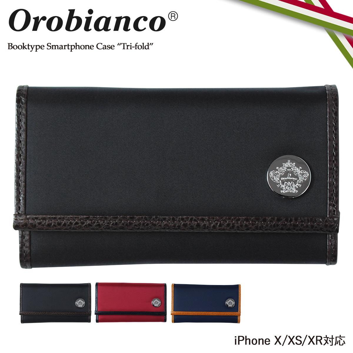 Orobianco オロビアンコ iPhone XR X XS ケース 手帳型 スマホ 携帯 アイフォン TRI-FOLD レザー メンズ レディース