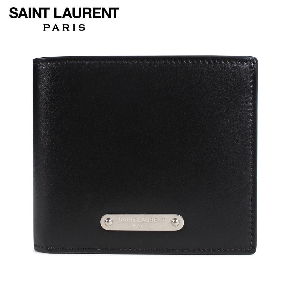 SAINT LAURENT PARIS サンローラン パリ 財布 二つ折り メンズ レディース LEATHER WALLET ブラック 黒 462357 DV70E