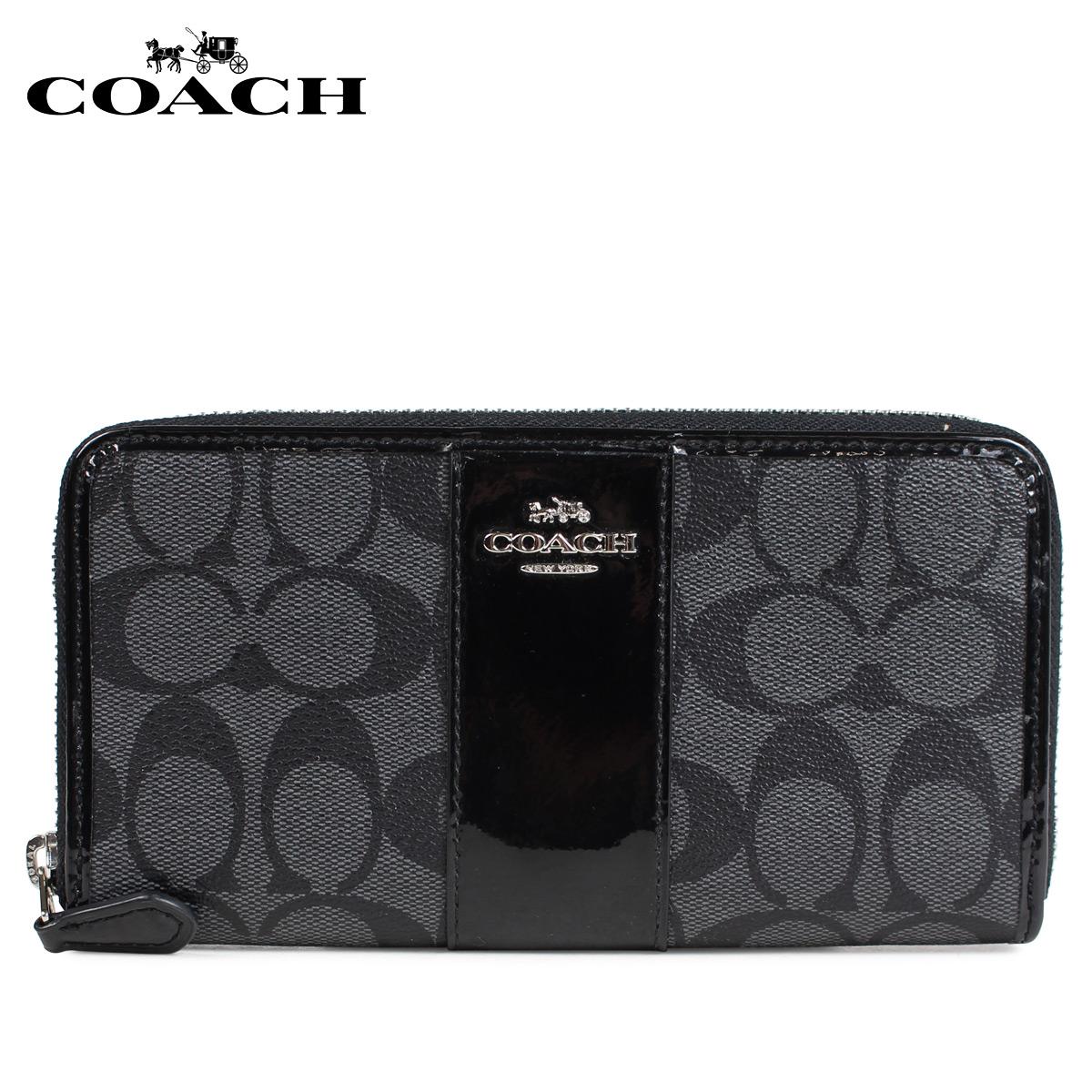 COACH コーチ 財布 長財布 レディース ラウンドファスナー シグネチャー ブラック 黒 F35443