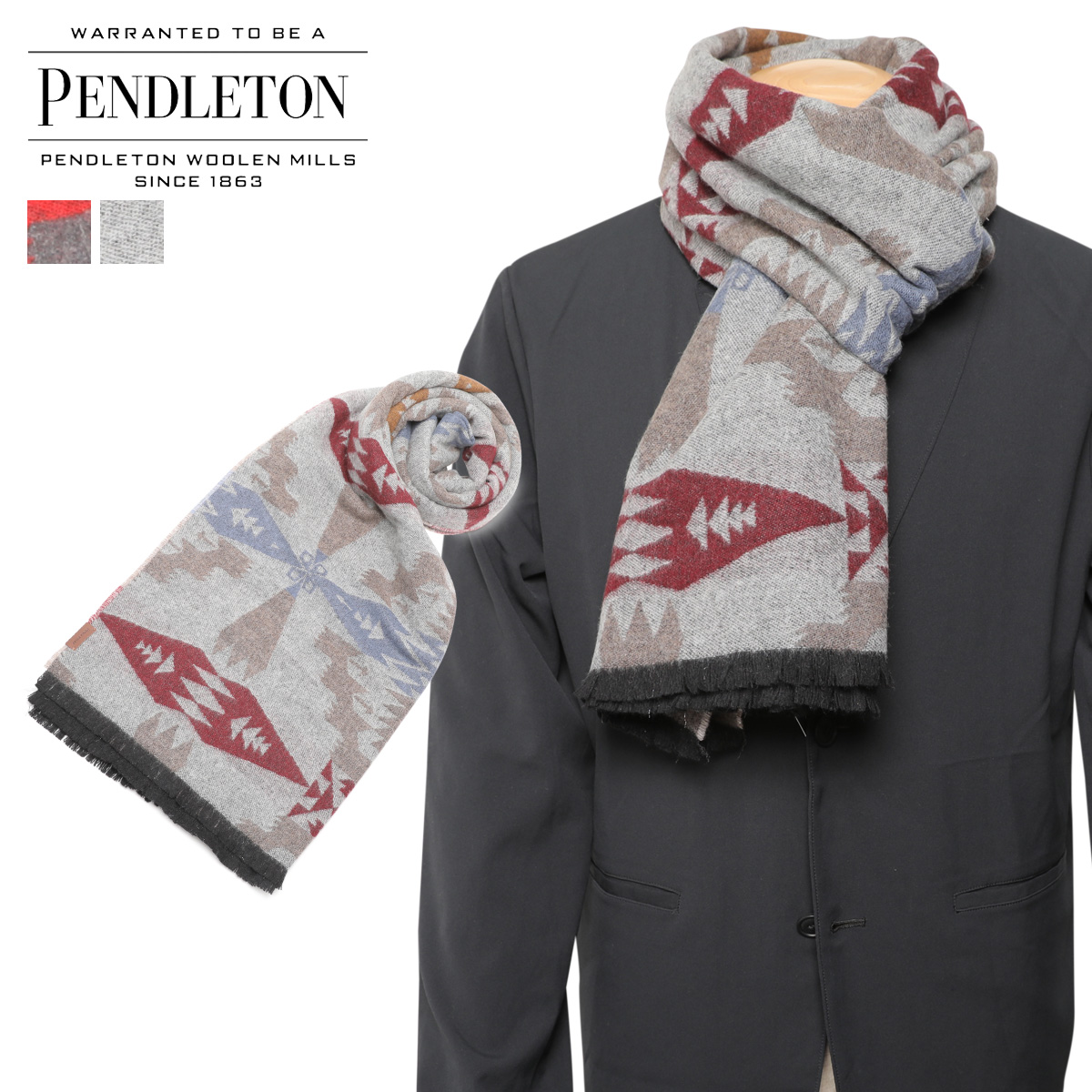 PENDLETON ペンドルトン マフラー メンズ レディース 大判 ウール OVERSIZED WRAP チャコール グレー GS757