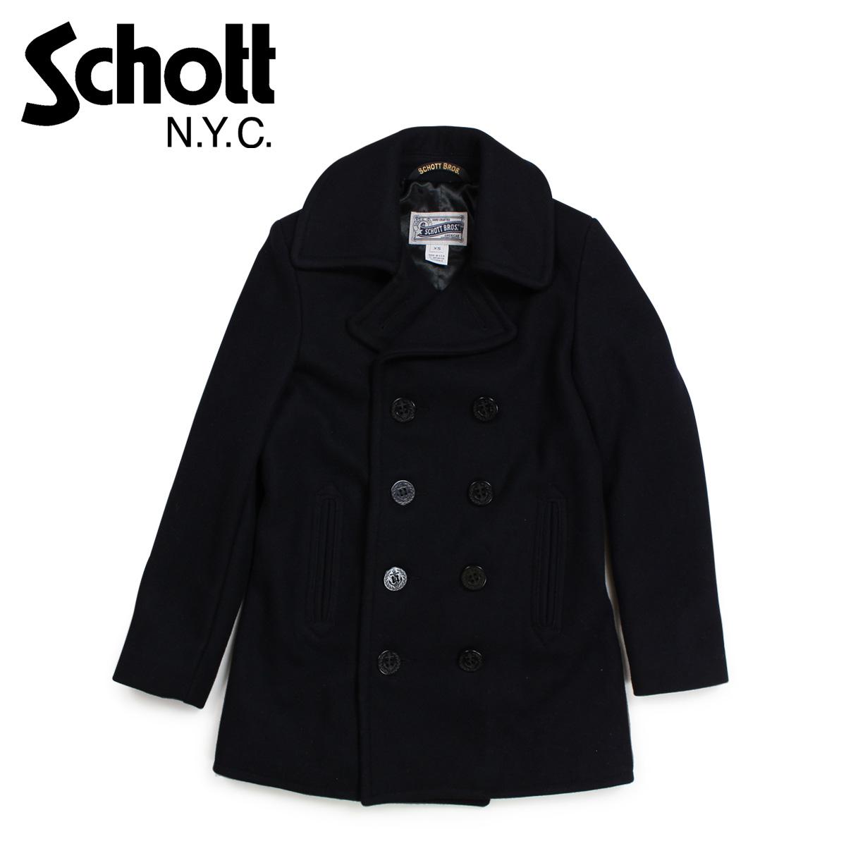 Schott ショット コート Pコート レディース ウール WOMEN'S WOOL PEACOAT ブラック 754W