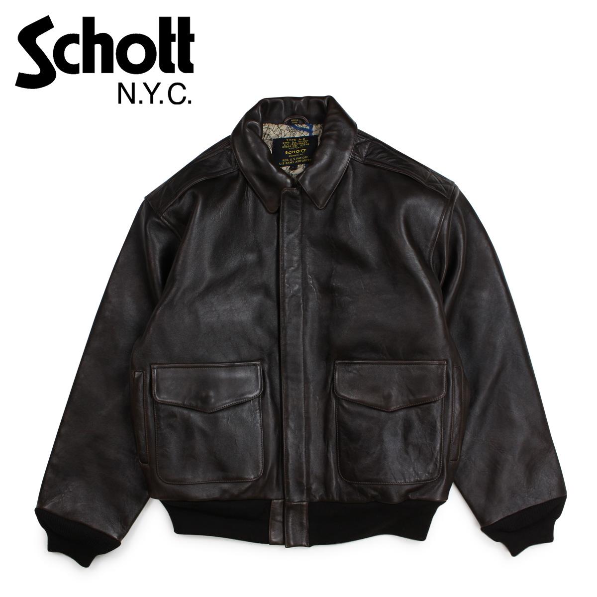 Schott ショット ジャケット ボンバージャケット メンズ MEN'S WAXY OILED LAMBSKIN A-2 BOMBER JACKET ブラウン P274