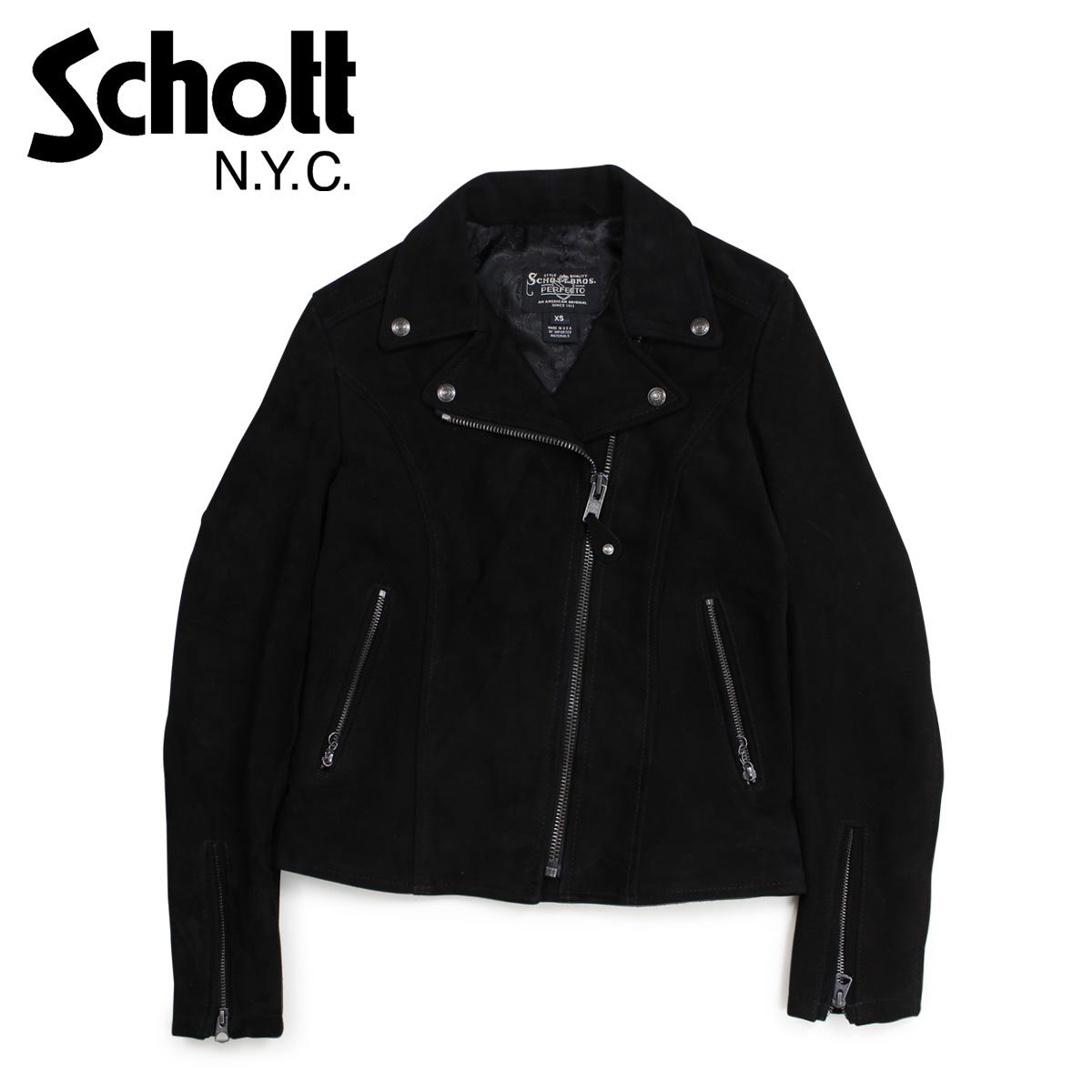 Schott ショット ジャケット ライダースジャケット レディース WOMENS FITTED SUEDE MOTORCYCLE JACKET ブラック 黒 206W